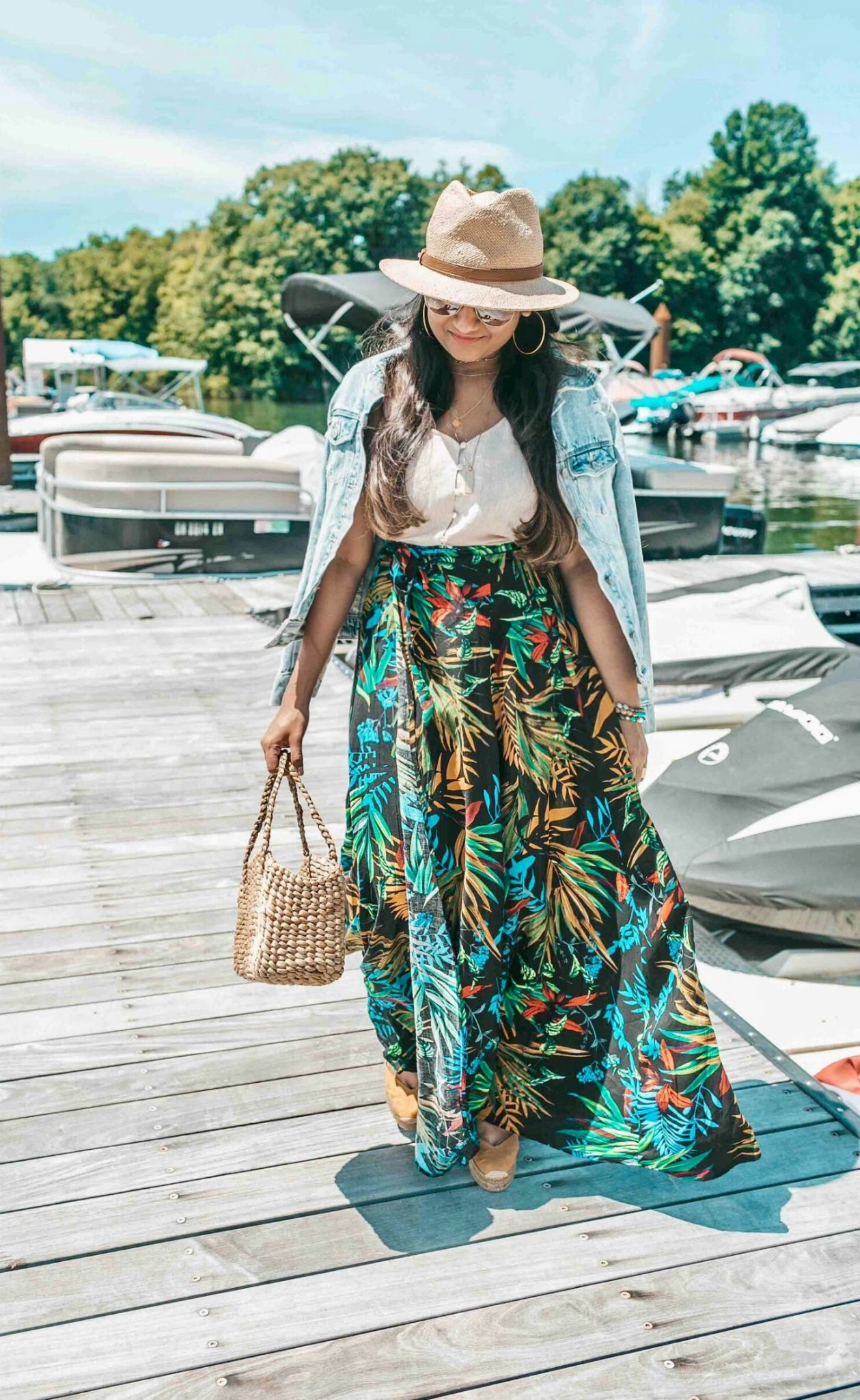 wearing Shein Tropical Print Self Tie Wrap Skirt | fall accessories featured by popular US modest fashion blogger, Dreaming Loud