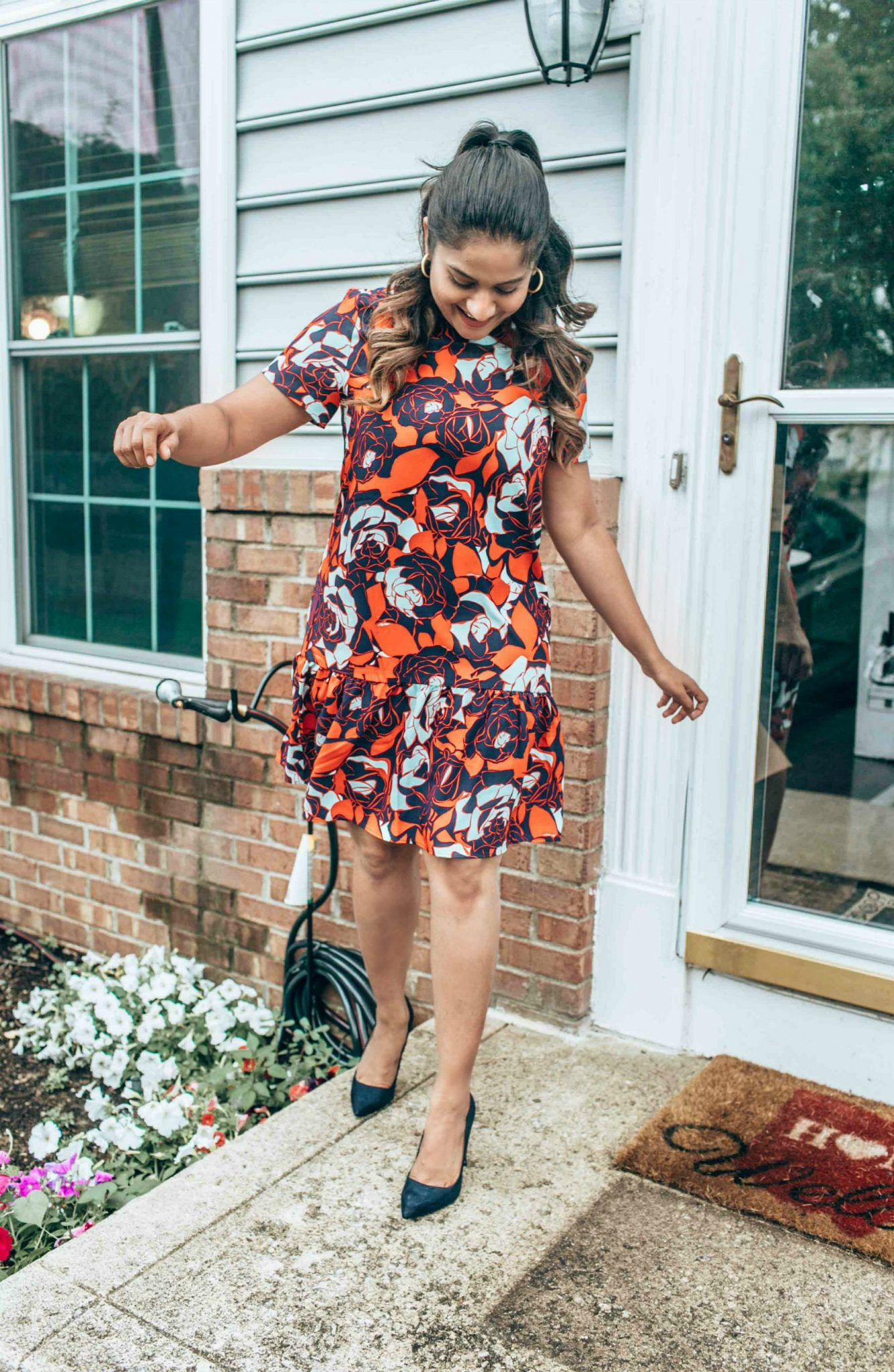 wearing Short Sleeve Ruffle Hem Dress HALOGEN in red graphic rose - Nordstrom Anniversary Sale top picks featured by popular Ohio modest fashion blogger, Dreaming Loud