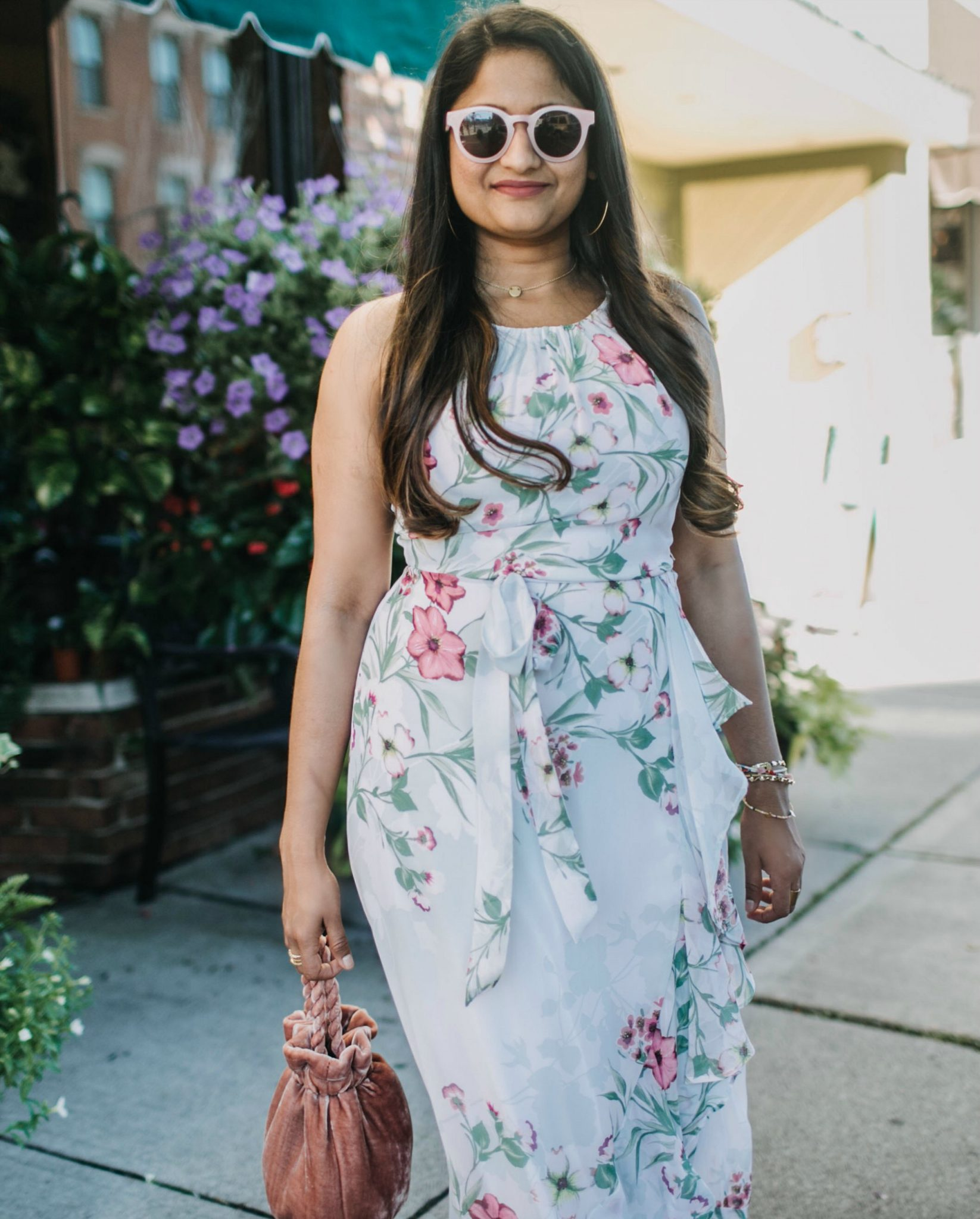 wearing Staud grace crushed velvet tote in blush | | Cute Wedding Guest Dresses for Summer featured by popular US modest fashion blogger, Dreaming Loud
