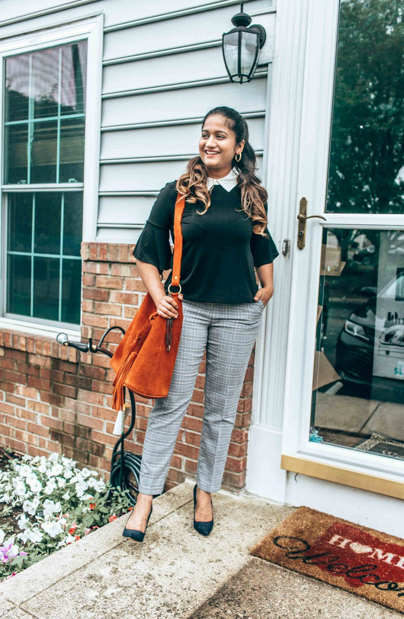 wearing Treasure & Bond Cropped Trousers in check - Nordstrom Anniversary Sale top picks featured by popular Ohio modest fashion blogger, Dreaming Loud