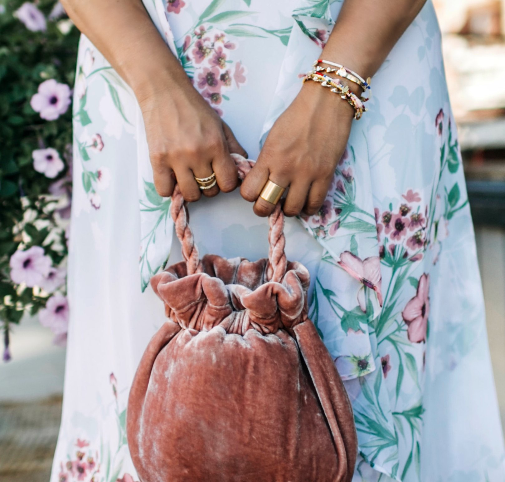wearing madewell Two-Pack Seed Bead Charm Bracelets | | Cute Wedding Guest Dresses for Summer featured by popular Ohio modest fashion blogger, Dreaming Loud