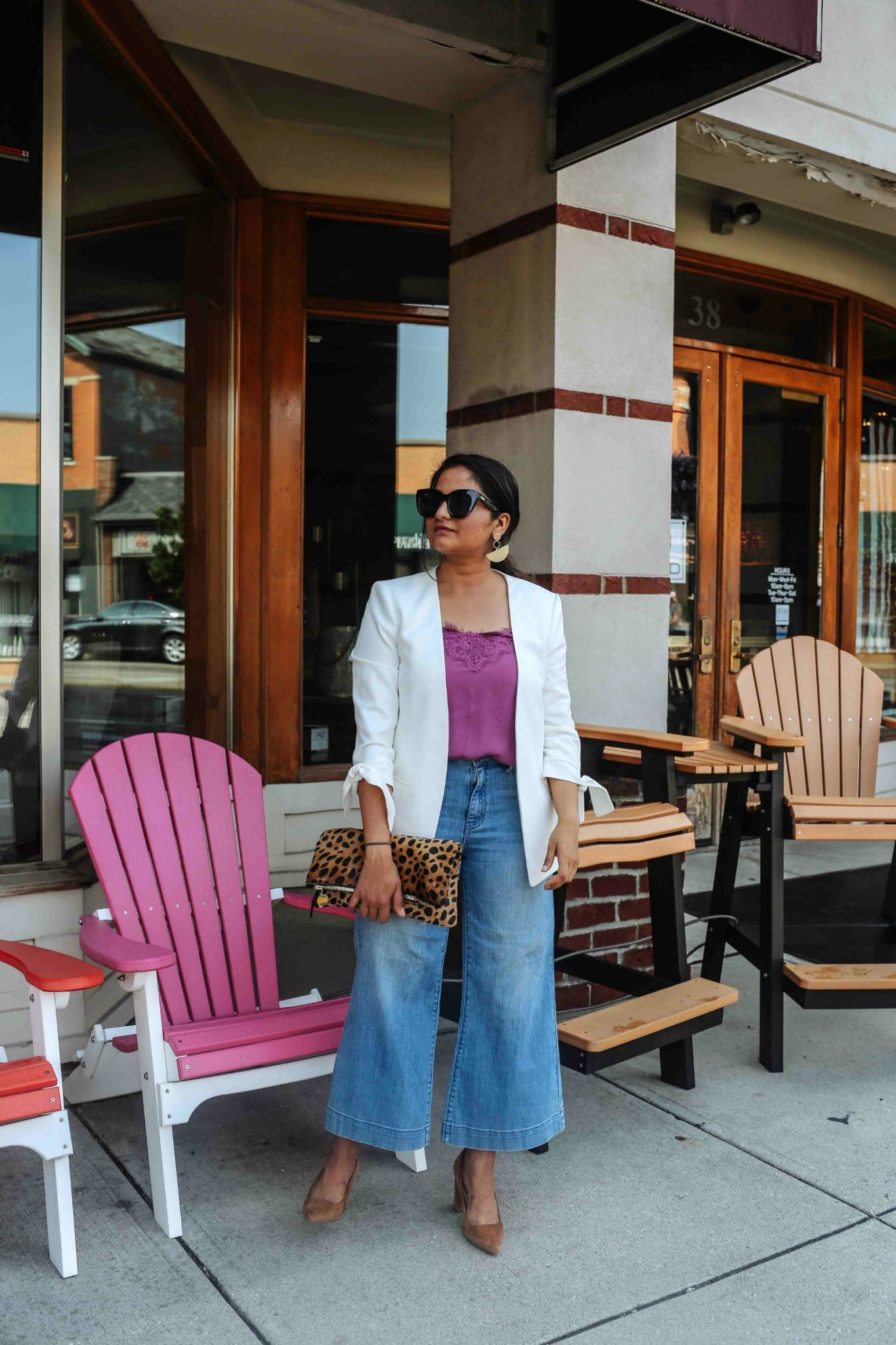 wearing nordstrom halogen Wide Leg Cropped Jeans with white bl - Chic & Trendy Blazer With Jeans Outfits featured by popular US modest fashion blogger, Dreaming Loud