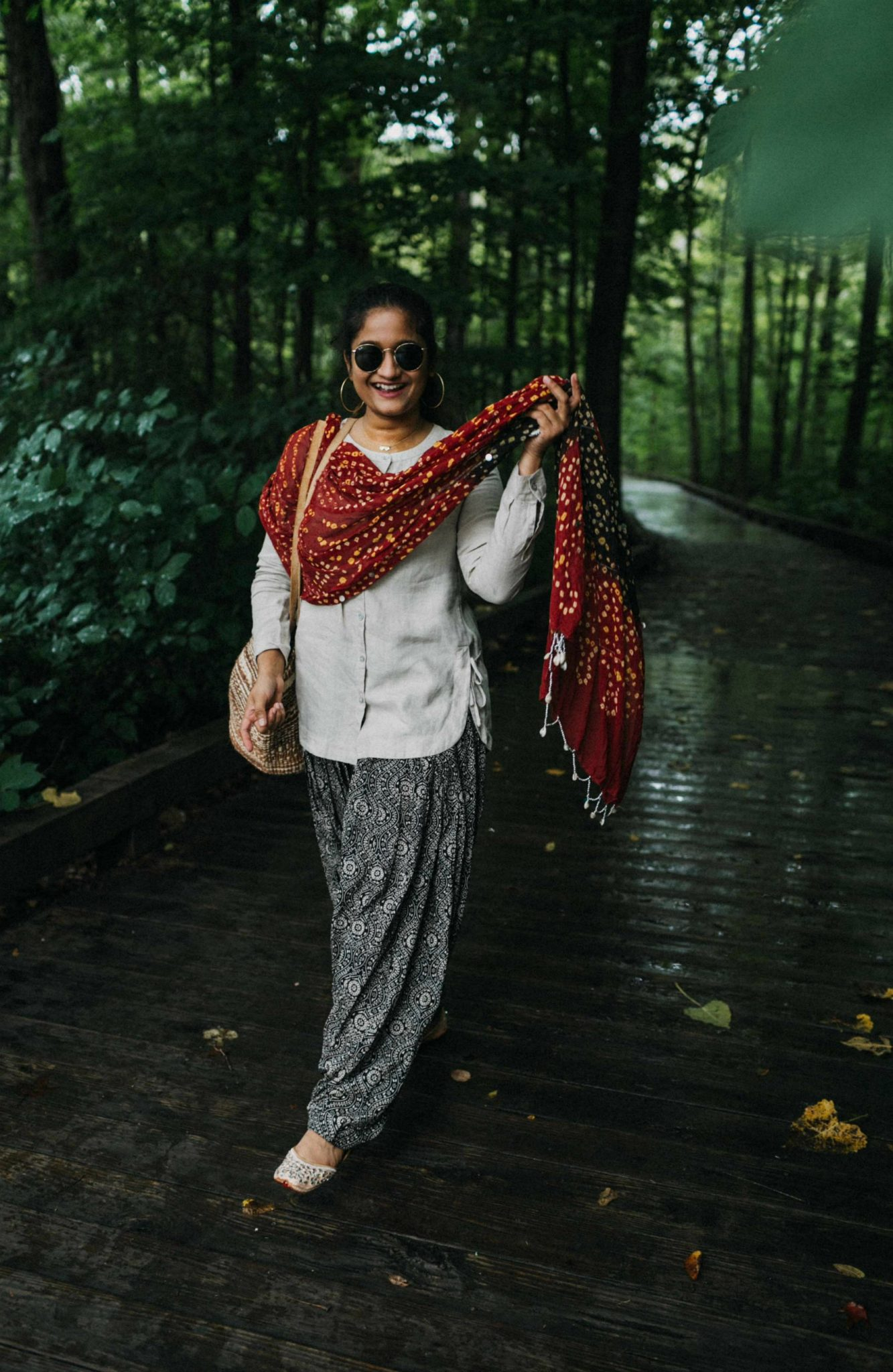10 Indian Desi Habits that are strong in me | Indo Western by popular Maryland modest fashion blog, Dreaming Loud: image of a woman wearing an Indo Wester outfit with a linen top, red print dupatta, and patiala pants.