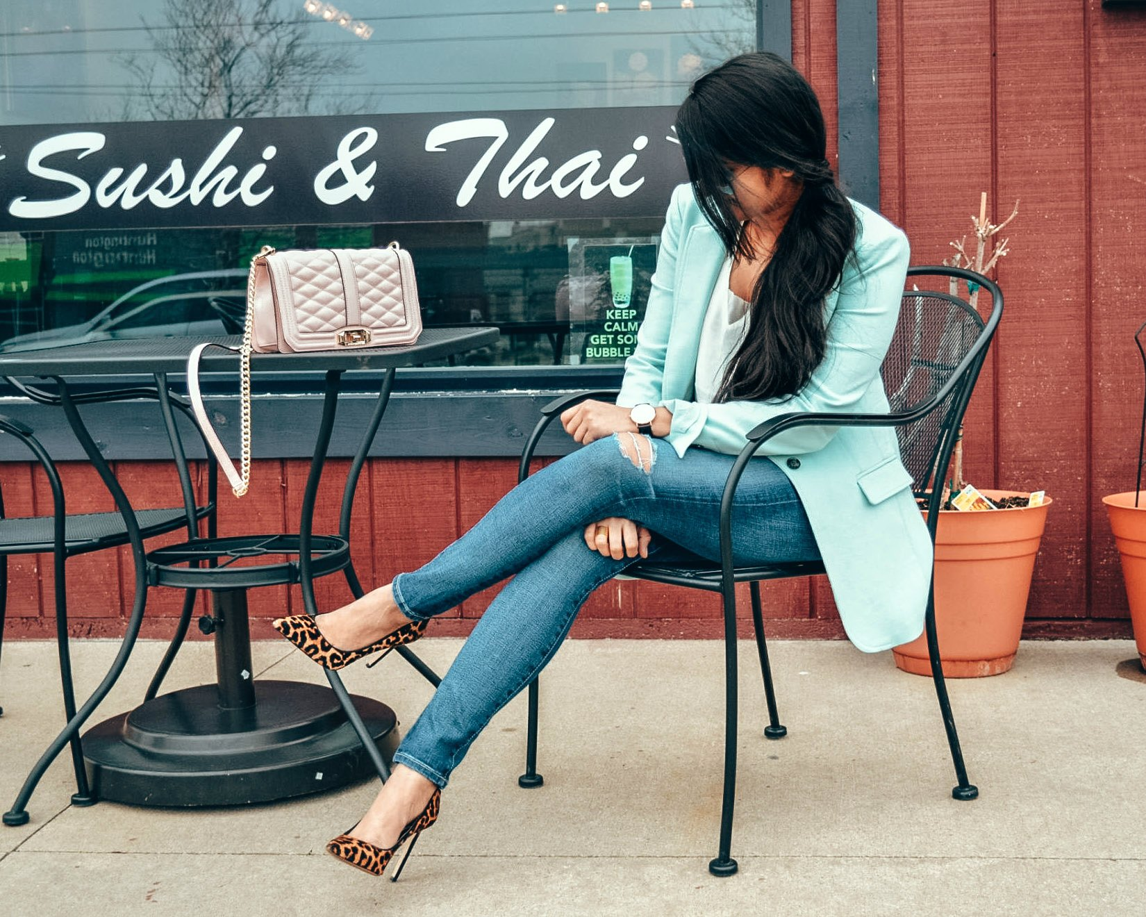 How to wear leopard print with bright colors | mint or turquoise blazer | The Leopard Print Trend featured by popular US modest fashion blogger, Dreaming Loud