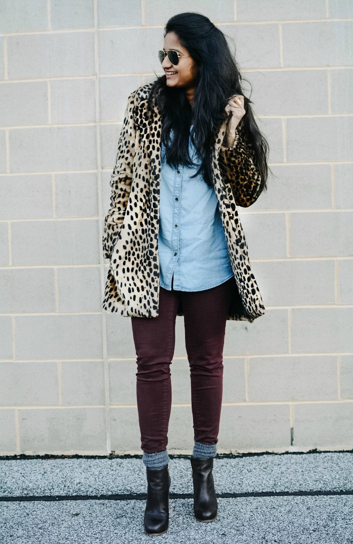 How to wear leopard coat with burgundy | The Leopard Print Trend featured by popular US modest fashion blogger, Dreaming Loud