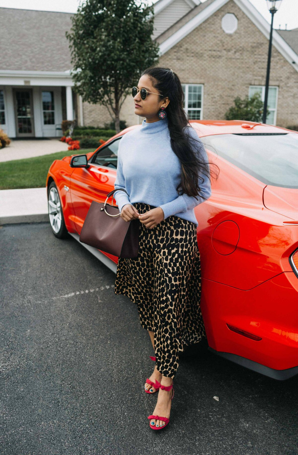 wearing leopard skirt, evarlane Cashmere Crop Mockneck, unite pink sandals | The Leopard Print Trend featured by popular US modest fashion blogger, Dreaming Loud