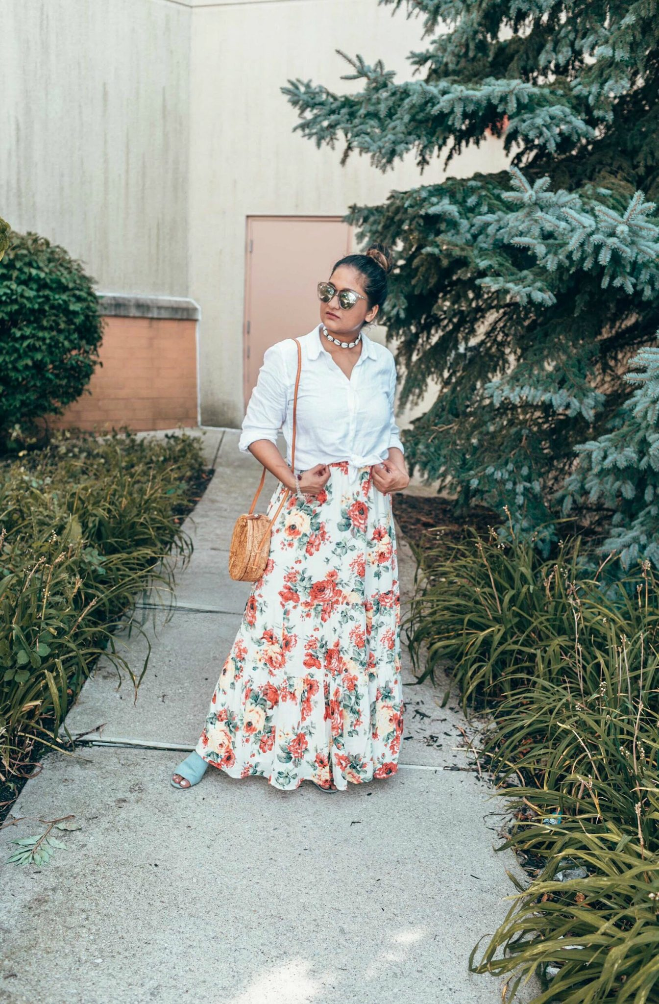 Wearing Abercrombie Tiered Maxi Skirt with Linen White shirt | fall accessories featured by popular Ohio modest fashion blogger, Dreaming Loud