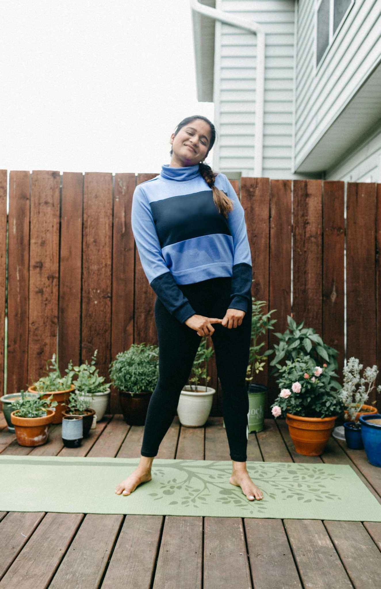 Wearing adidas Sport 2 Street Mock Neck Sweatshirt in Lilac from Kohls 1 | Adidas Yoga Clothing featured by Ohio modest fashion blogger, Dreaming Loud