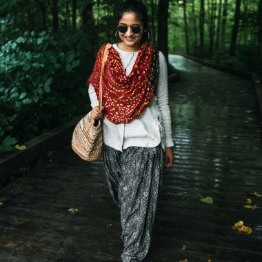 wearing J.Jill Linen Side-Tie Tunic with Patiala pant | 15 Desi / Indian Customs of Mine: wearing patiala pants, featured by popular Ohio fashion blogger, Dreaming Loud