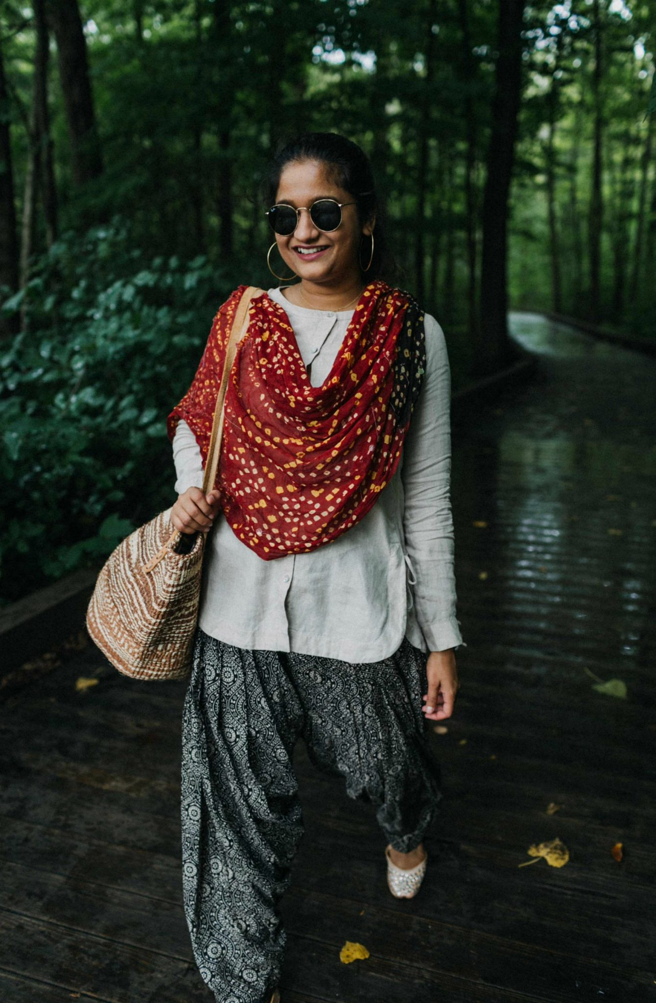 wearing J.Jill Linen Side-Tie Tunic | fall accessories featured by popular Ohio modest fashion blogger, Dreaming Loud
