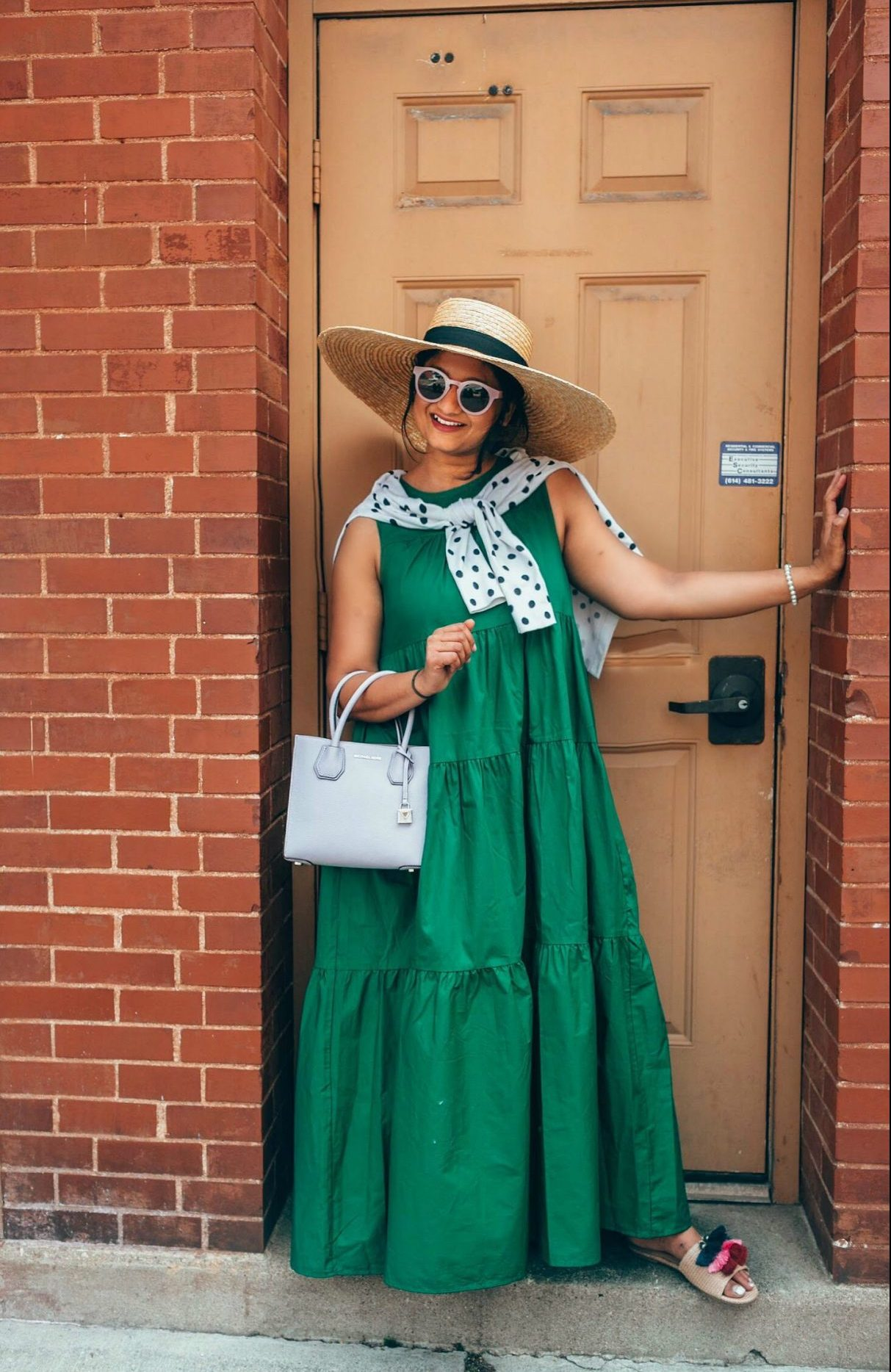 wearing Who What Wear Tiered Maxi Dress | fall accessories featured by popular Ohio modest fashion blogger, Dreaming Loud