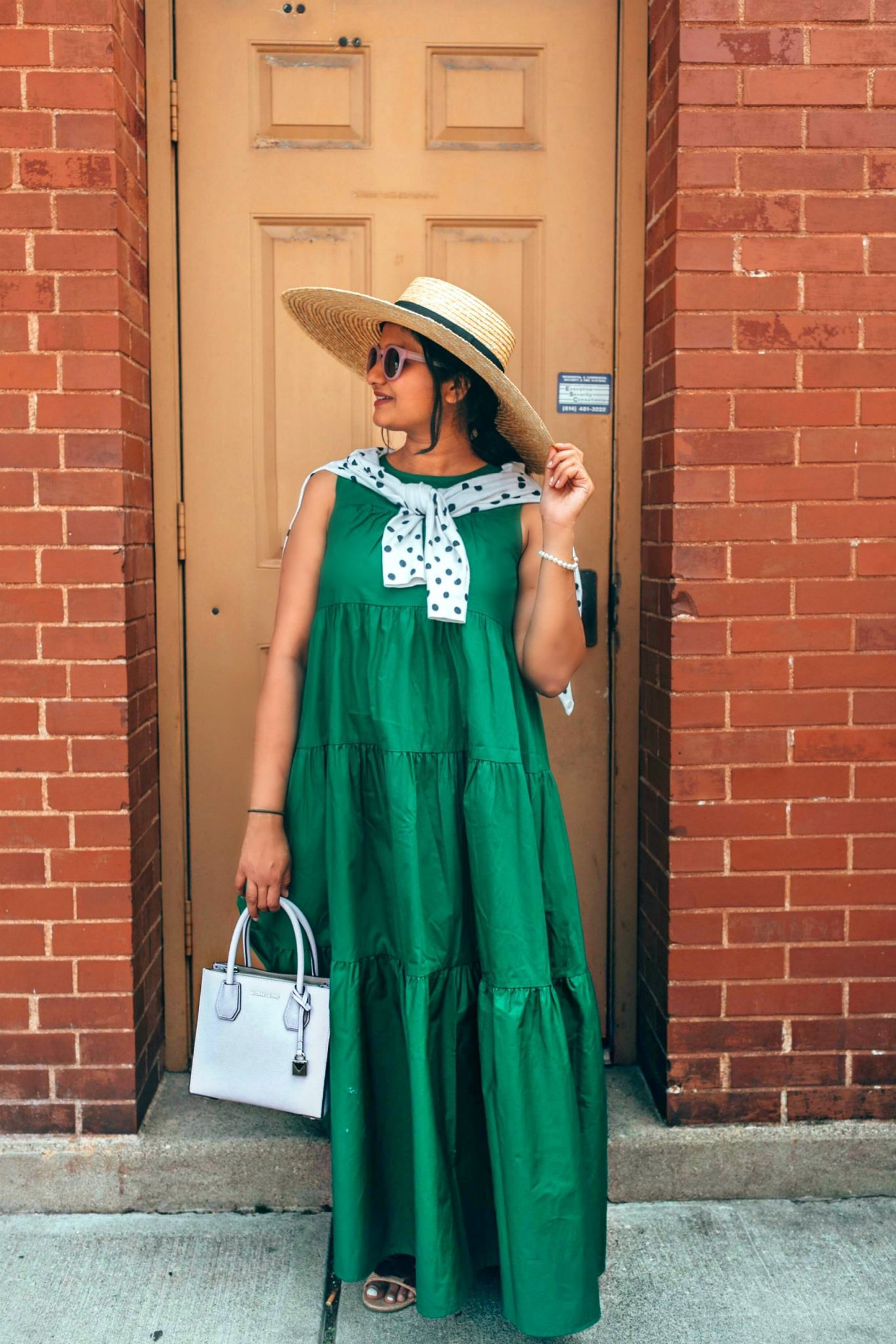 wearing Who What Wear Tiered Maxi Dress with gig pip hat | fall accessories featured by popular US modest fashion blogger, Dreaming Loud