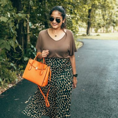 wearing target who what wear Seamed Asymmetric Hem Slip Skirt | The Leopard Print Trend featured by popular Ohio modest fashion blogger, Dreaming Loud