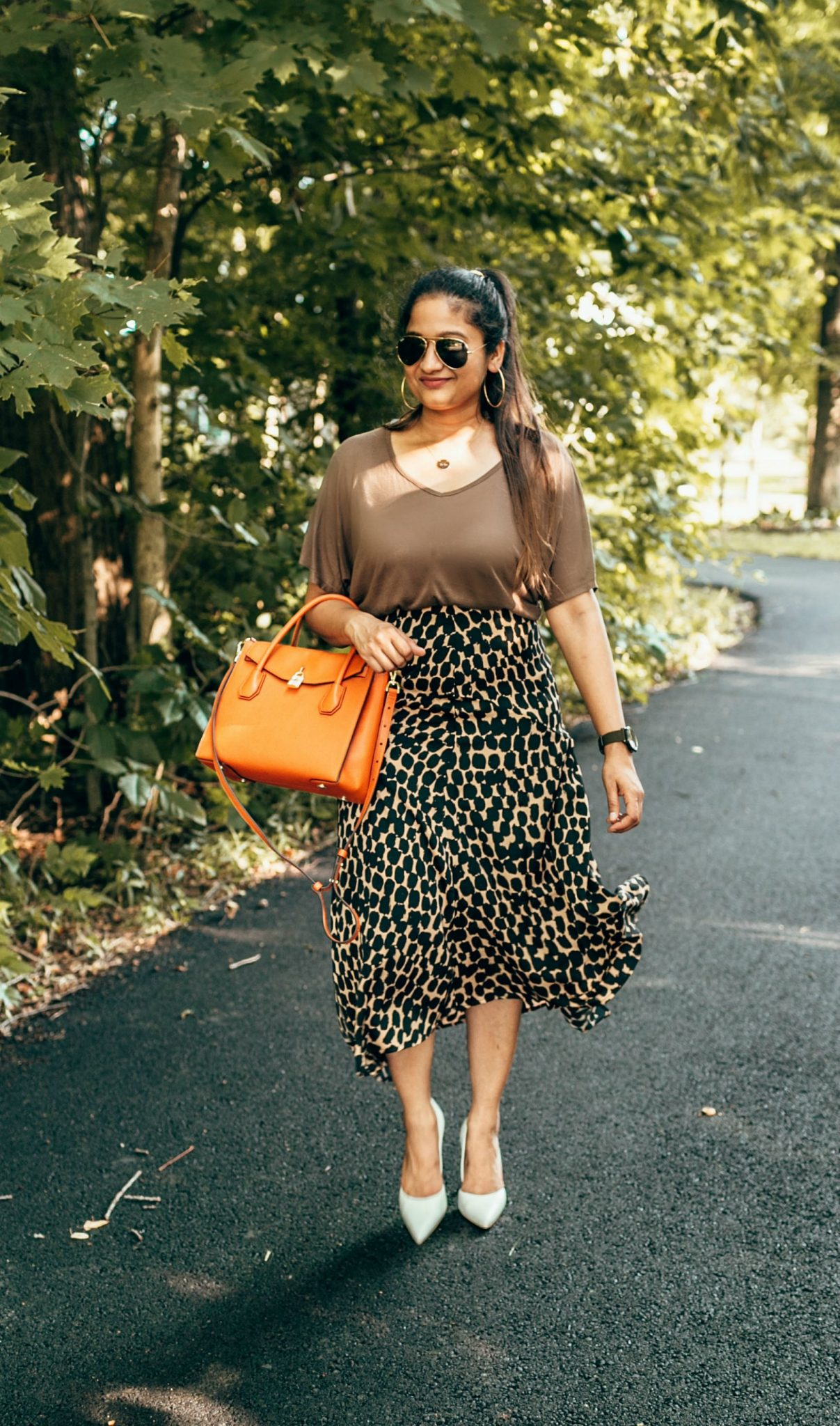 wearing target who what wear Seamed Asymmetric Hem Slip Skirt 4 | The Leopard Print Trend featured by popular US modest fashion blogger, Dreaming Loud