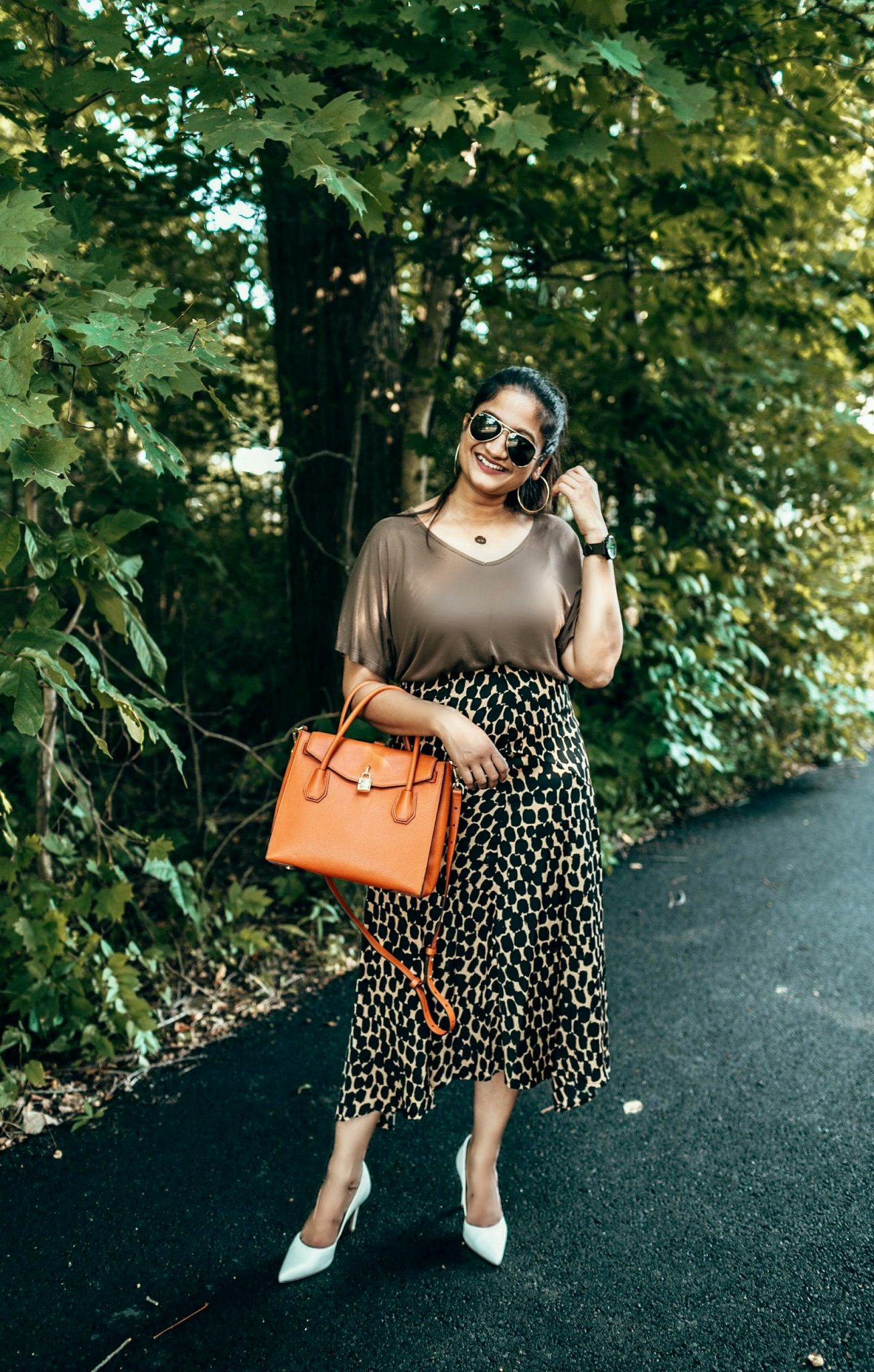 wearing target who what wear Seamed Asymmetric Hem Slip Skirt7-2 | The Leopard Print Trend featured by popular Ohio modest fashion blogger, Dreaming Loud