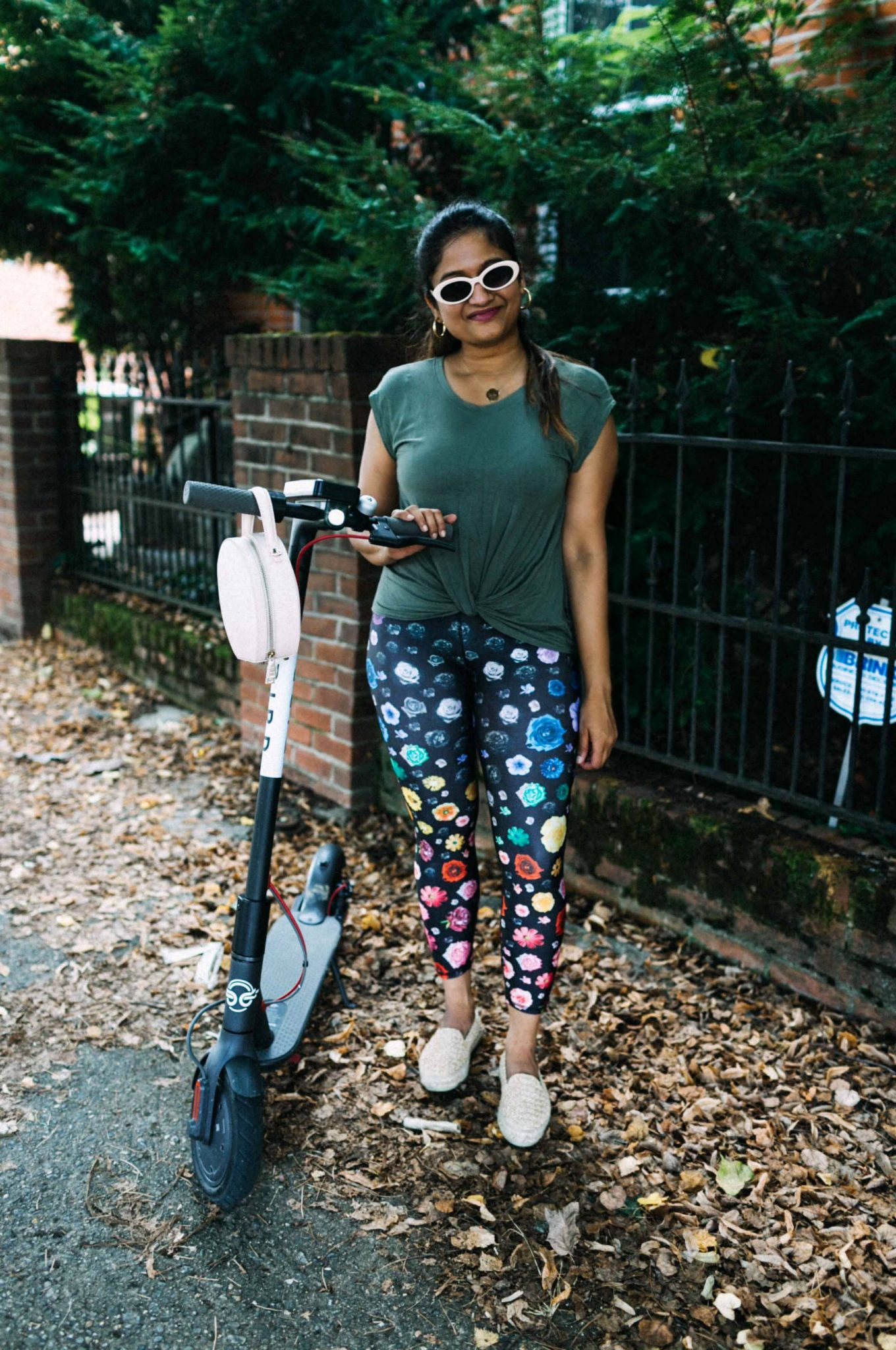 wearing terez fashion fitness Micro Bloom Leggings | Terez workout leggings featured by popular Ohio modest fashion blogger, Dreaming Loud