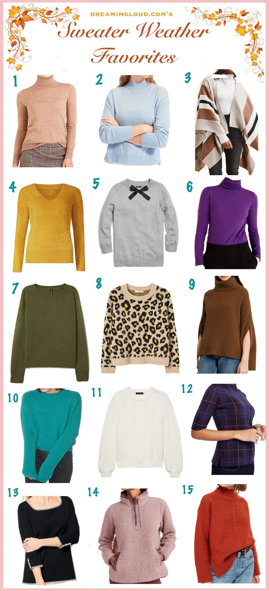 15 Cute Fall Sweaters Perfect for the Season featured by popular US modest fashion blogger, Dreaming Loud