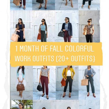 20 Outfit Fall colorful capsule wardrobe | | Colorful Fall Work Outfits featured by popular Ohio modest fashion blogger, Dreaming Loud