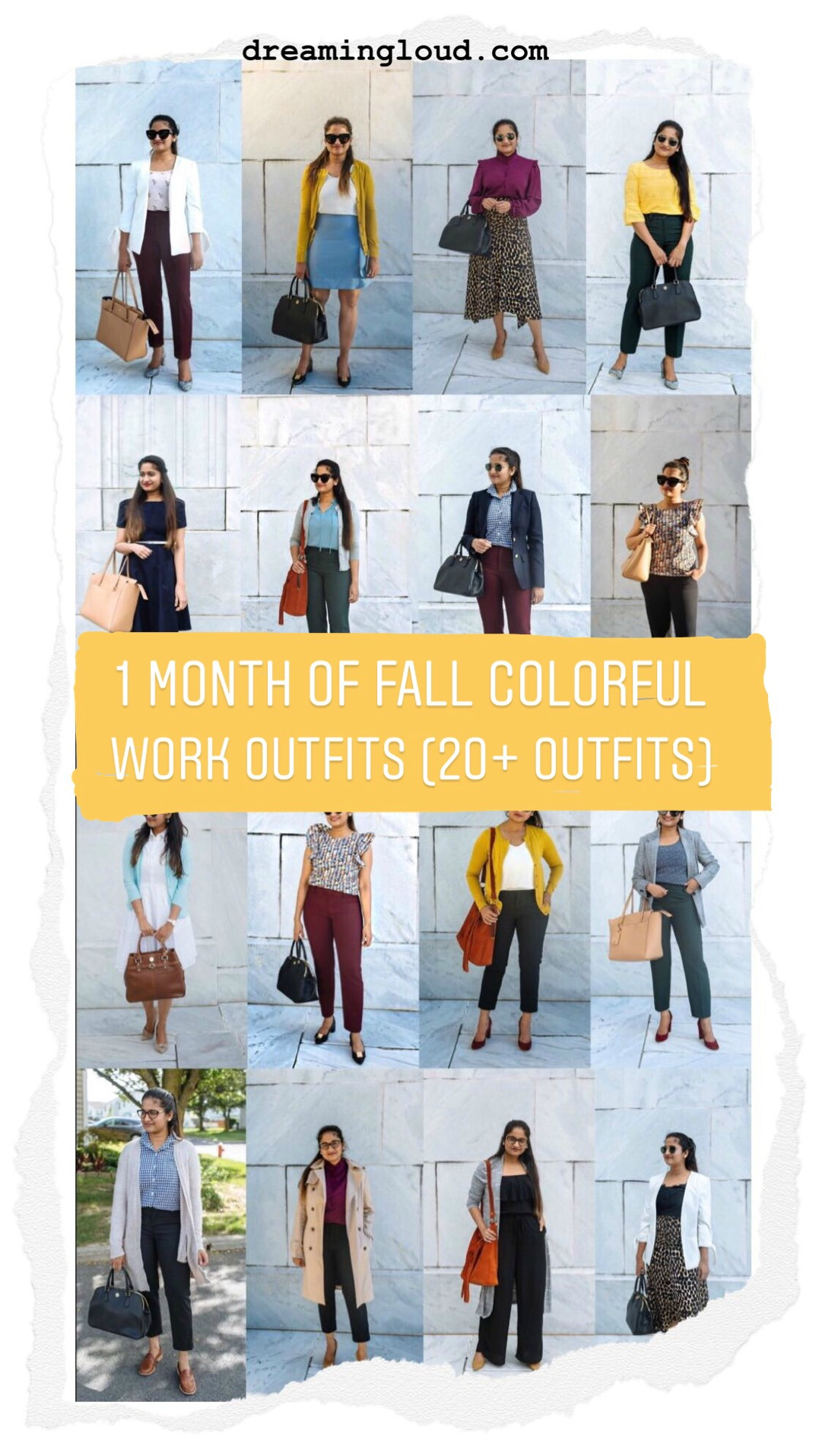 20 Outfit Fall colorful capsule wardrobe | Colorful Fall Work Outfits featured by popular US modest fashion blogger, Dreaming Loud