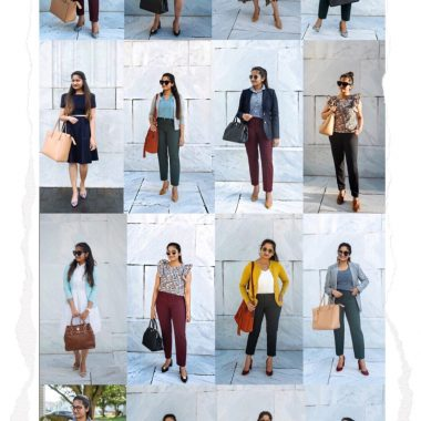 20 Outfit Fall colorful capsule wardrobe Colorful Fall Work Outfits featured by popular Ohio modest fashion blogger, Dreaming Loud