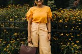 How to wear Orange trousers or pants, Ann taylor marina wide leg pant | Orange Monochrome Outfit from the Ann Taylor Sale featured by popular Ohio modest fashion blogger, Dreaming Loud