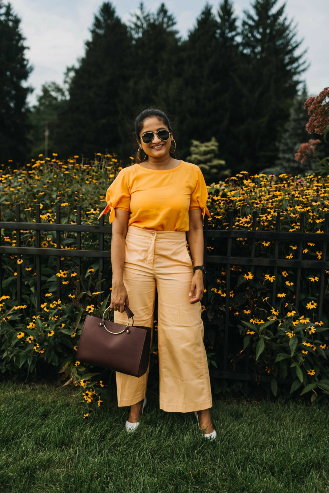 How to wear Orange trousers or pants, Ann taylor marina wide leg pant | Orange Monochrome Outfit from the Ann Taylor Sale featured by popular US modest fashion blogger, Dreaming Loud