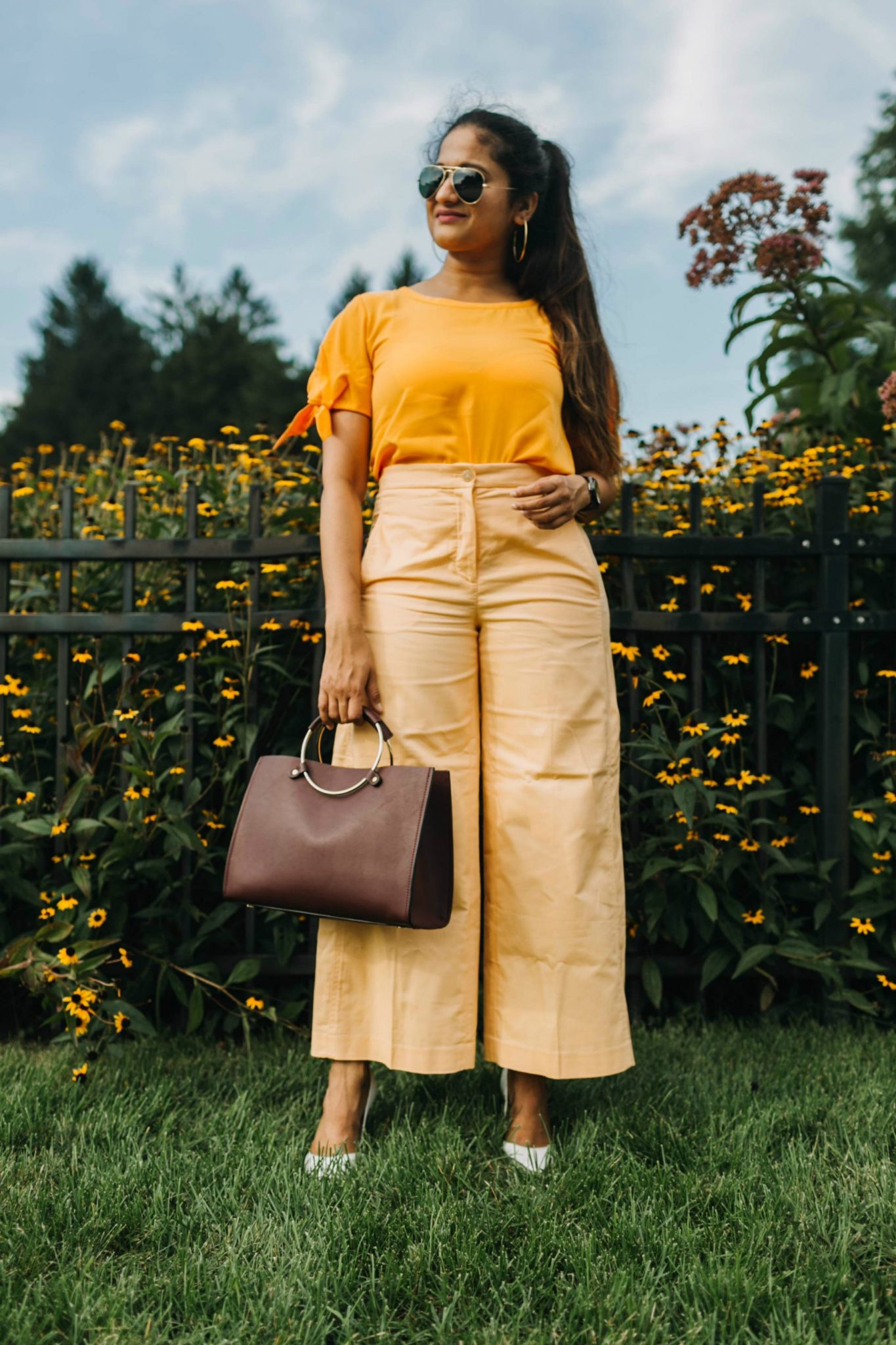 How to wear or style orange pants or trousers | Orange Monochrome Outfit from the Ann Taylor Sale featured by popular Ohio modest fashion blogger, Dreaming Loud