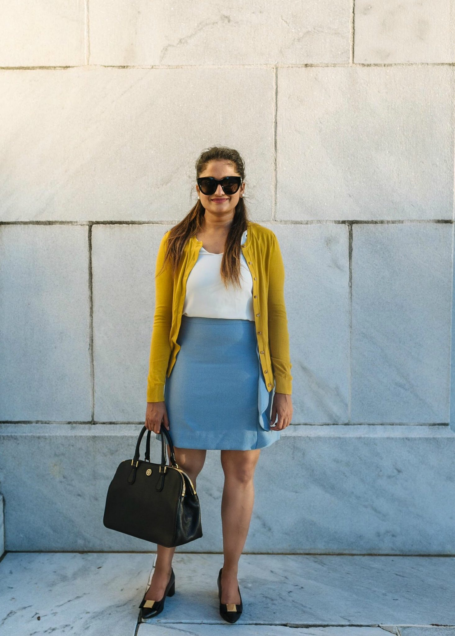 How to wear yellow cardigan to work | 20 Outfit Fall colorful capsule wardrobe |Colorful Fall Work Outfits featured by popular US modest fashion blogger, Dreaming Loud
