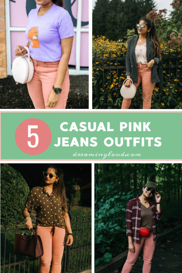 Jen7 Pink jeans featured by popular US modest fashion blogger, Dreaming Loud