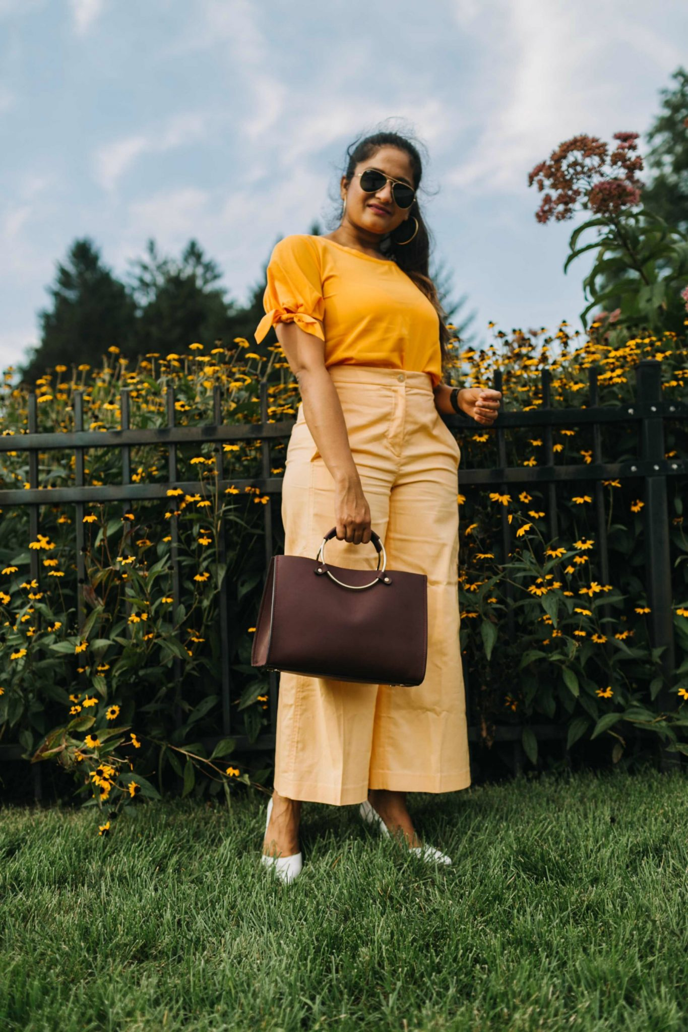 Orange and burgundy outfit | wearing Ann Taylor Marina wide leg pant | Orange Monochrome Outfit from the Ann Taylor Sale featured by popular US modest fashion blogger, Dreaming Loud
