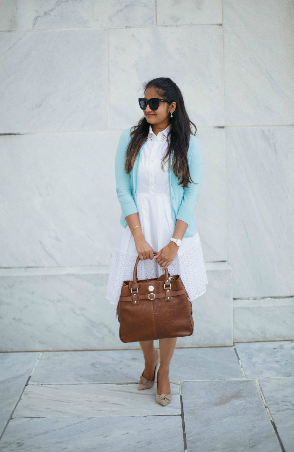 Wearing Ann taylor white eyelet shirtdress with Jill-e Designs E-GO Career Bag | Colorful Fall Work Outfits featured by popular Ohio modest fashion blogger, Dreaming Loud