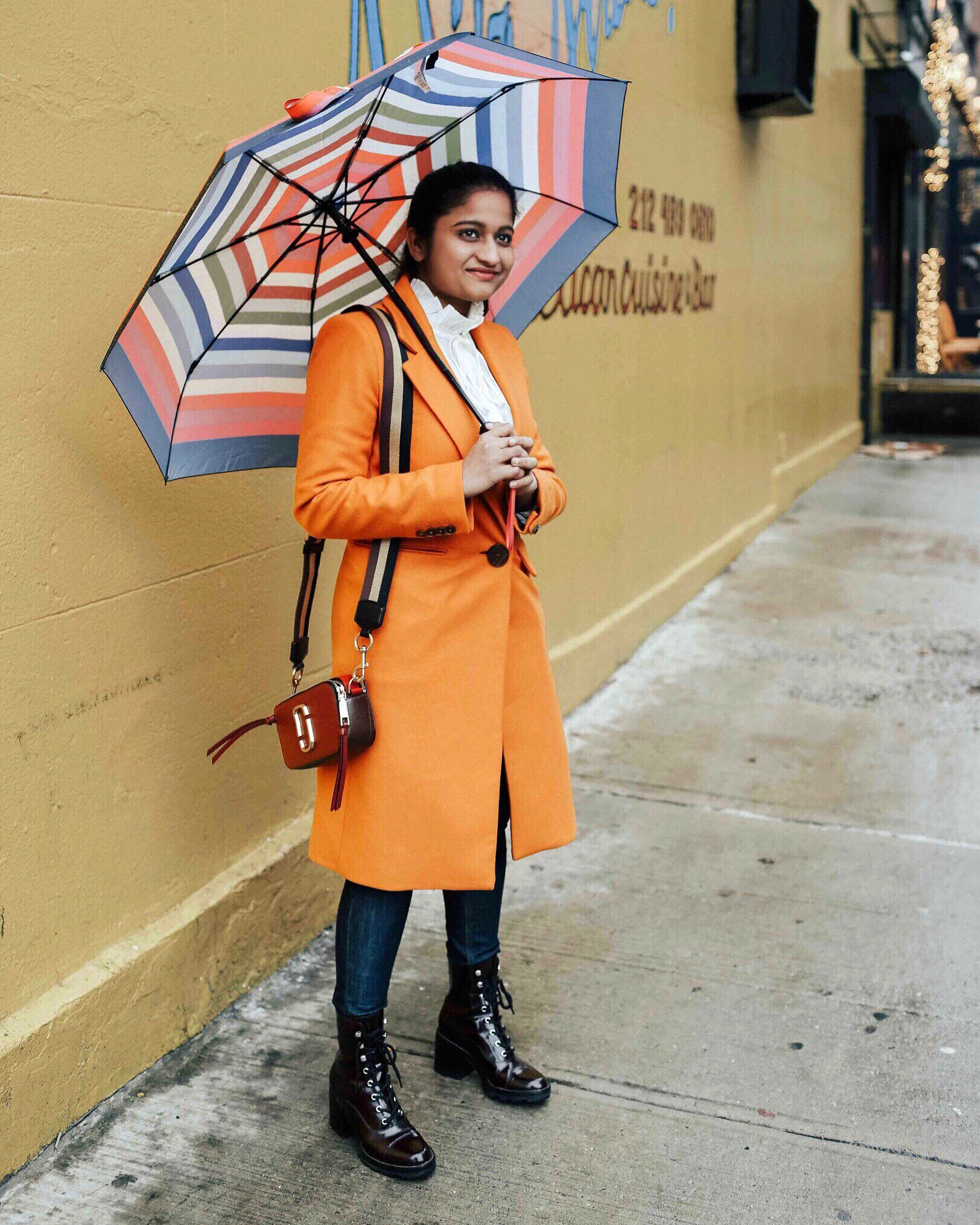 Wearing Mango Structured wool coat with Marc Jacobs Snapshot Small Camera Bag | | NYFW outfit featured by popular US modest fashion blogger, Dreaming Loud