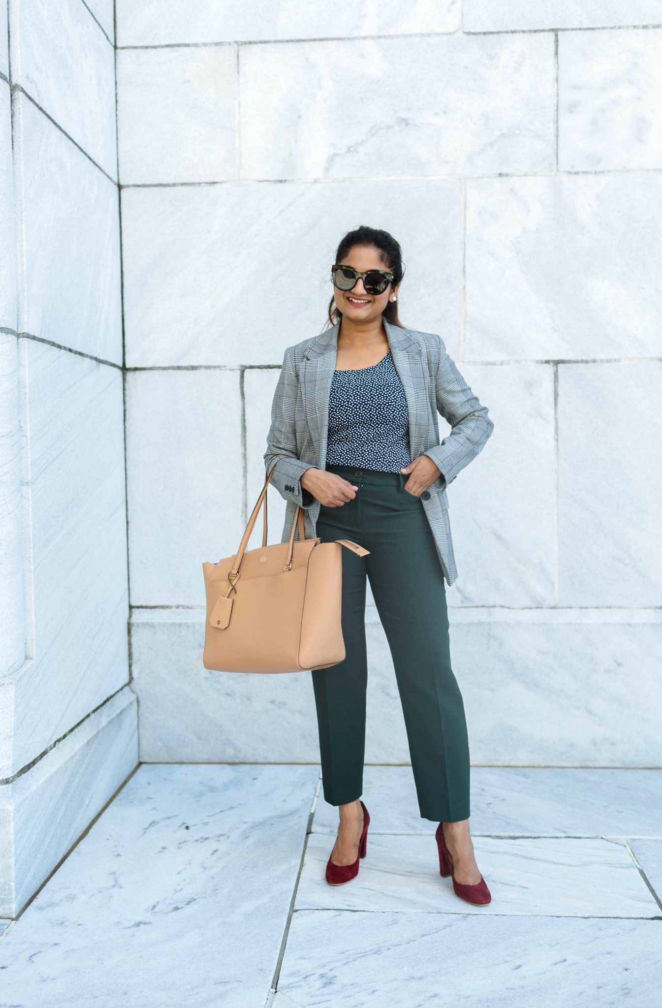 how to mix patterns for work | Colorful Fall Work Outfits featured by popular US modest fashion blogger, Dreaming Loud