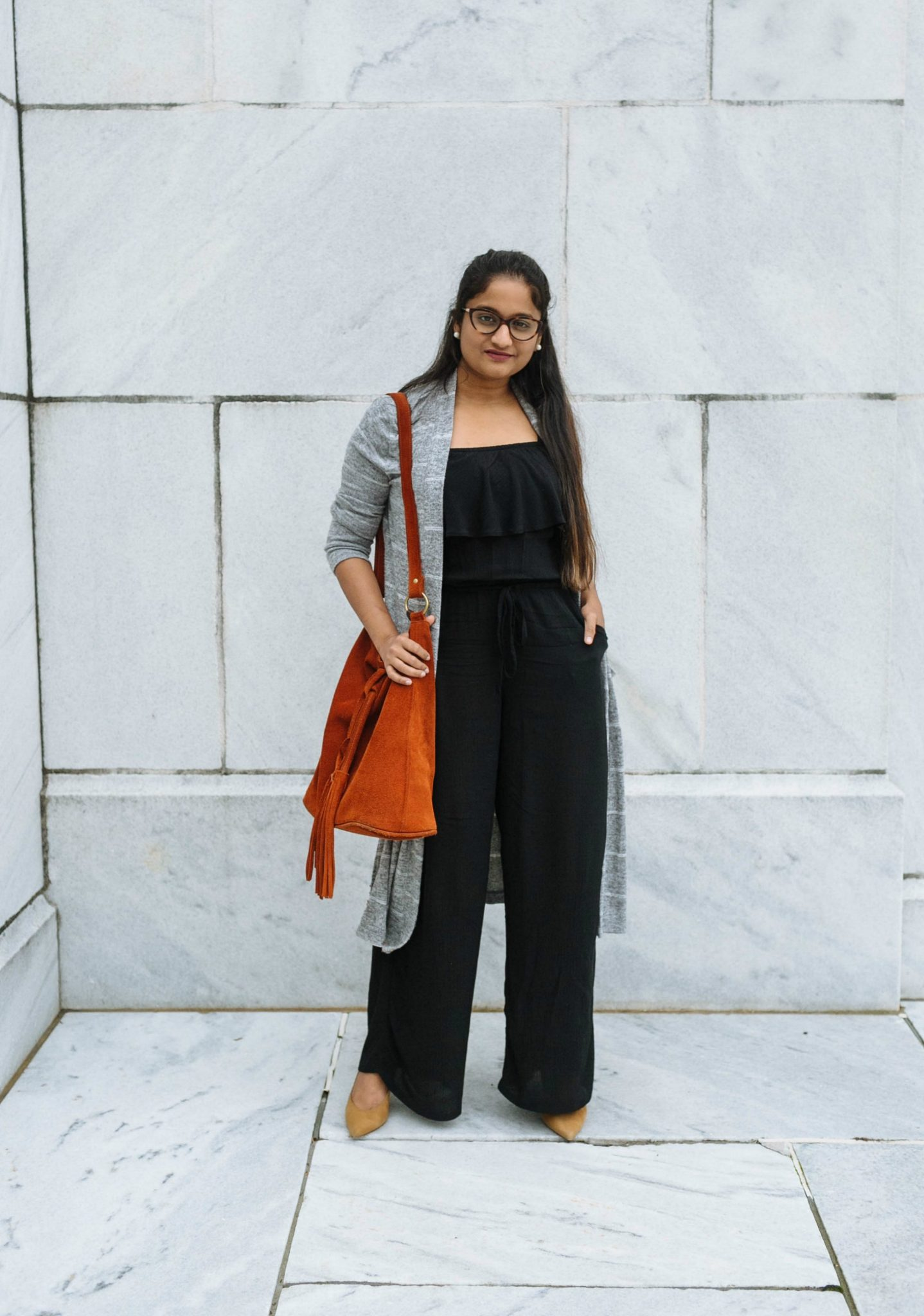 how to wear jumpsuits with cardigans to work | Colorful Fall Work Outfits featured by popular Ohio modest fashion blogger, Dreaming Loud