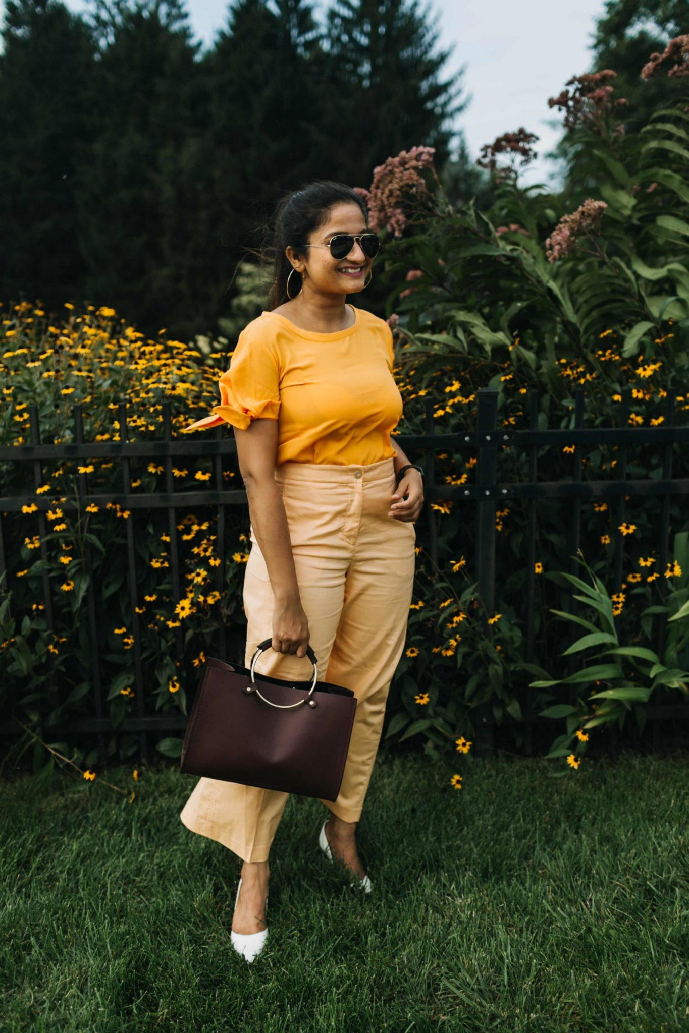how to wear or style monochrome outfit | Orange Monochrome Outfit from the Ann Taylor Sale featured by popular Ohio modest fashion blogger, Dreaming Loud