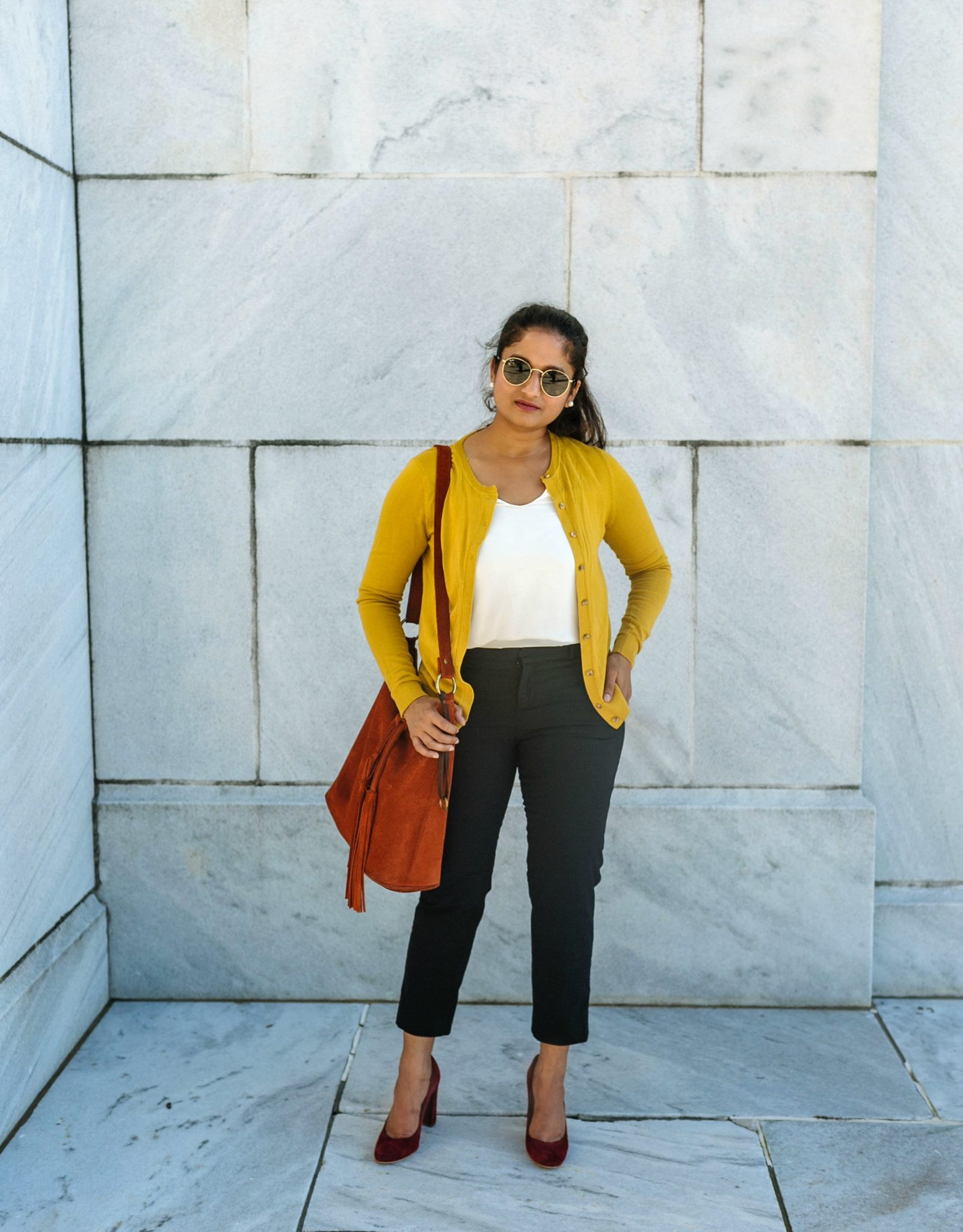 wearing Banana Republic Sloan Skinny-Fit Solid Ankle Pant in black | Colorful Fall Work Outfits featured by popular Ohio modest fashion blogger, Dreaming Loud