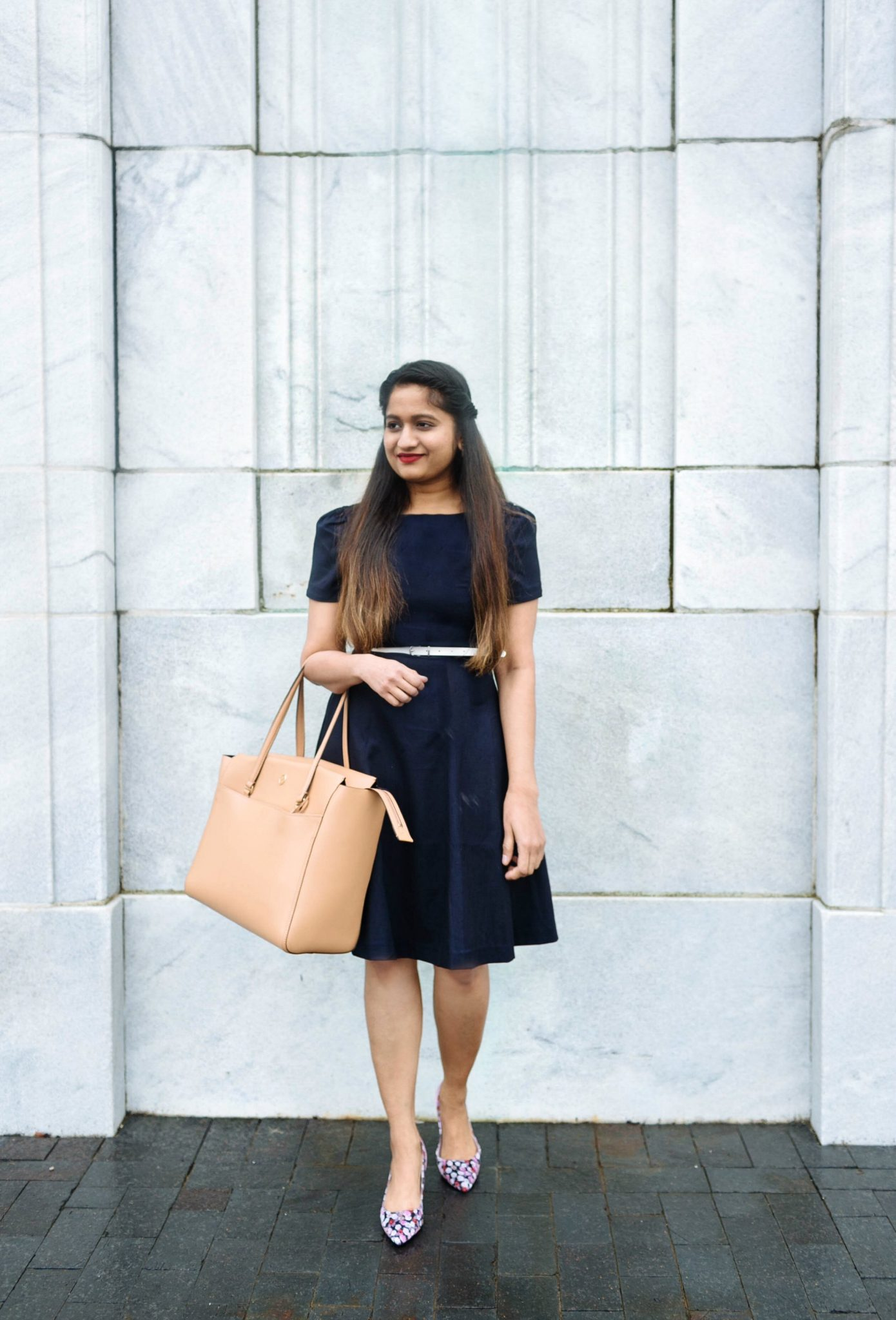 wearing H&M puffed sleeve dress-2 | 20 Outfit Fall colorful capsule wardrobe | Colorful Fall Work Outfits featured by popular US modest fashion blogger, Dreaming Loud