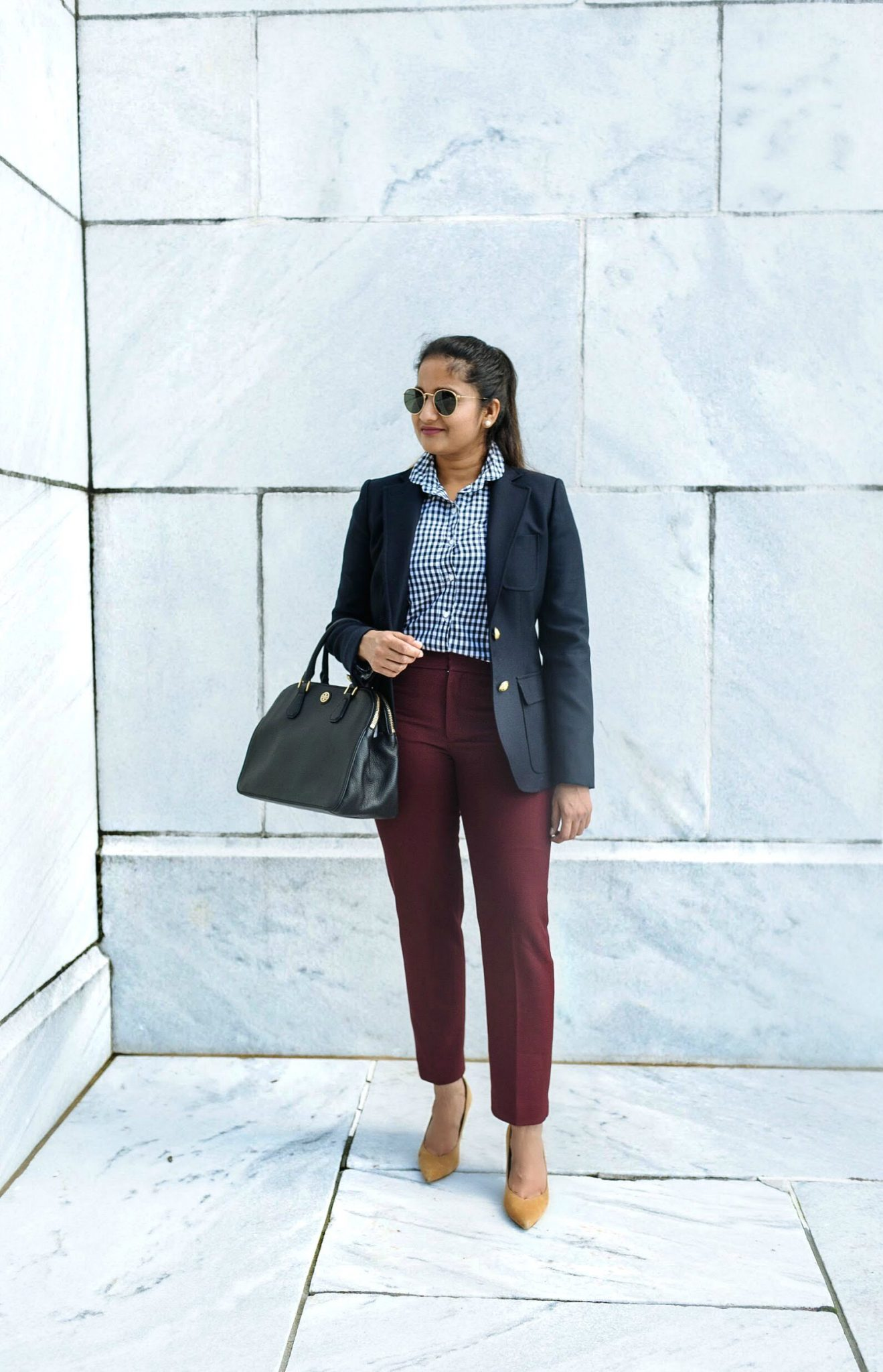 wearing J.crew Schoolboy blazer in navy | Fall Business casual outfit ideas | Colorful Fall Work Outfits featured by popular US modest fashion blogger, Dreaming Loud
