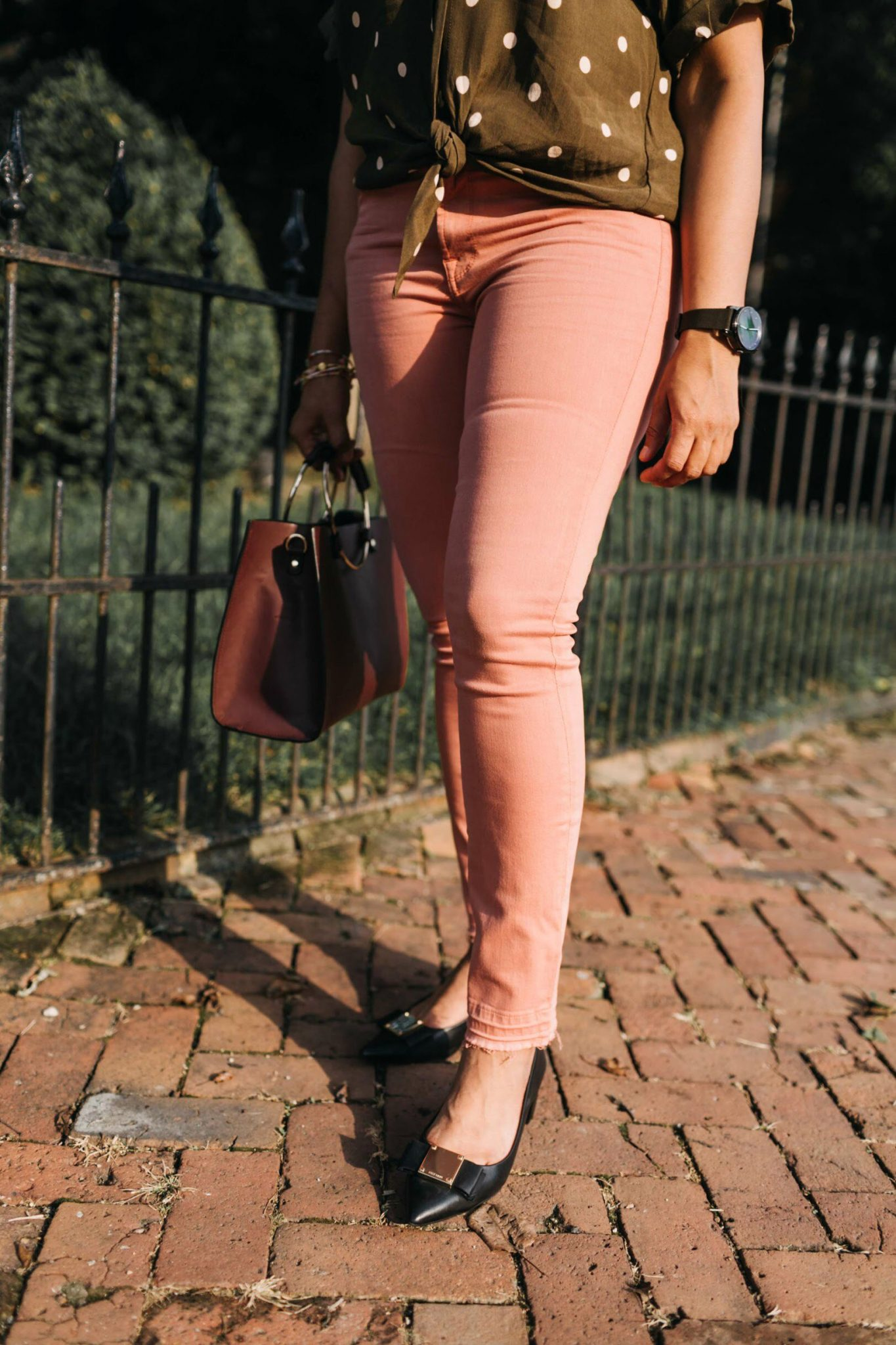 wearing Jen7 Release Hem Colored Ankle Skinny Jeans in pink | Jen7 Pink jeans featured by popular US modest fashion blogger, Dreaming Loud