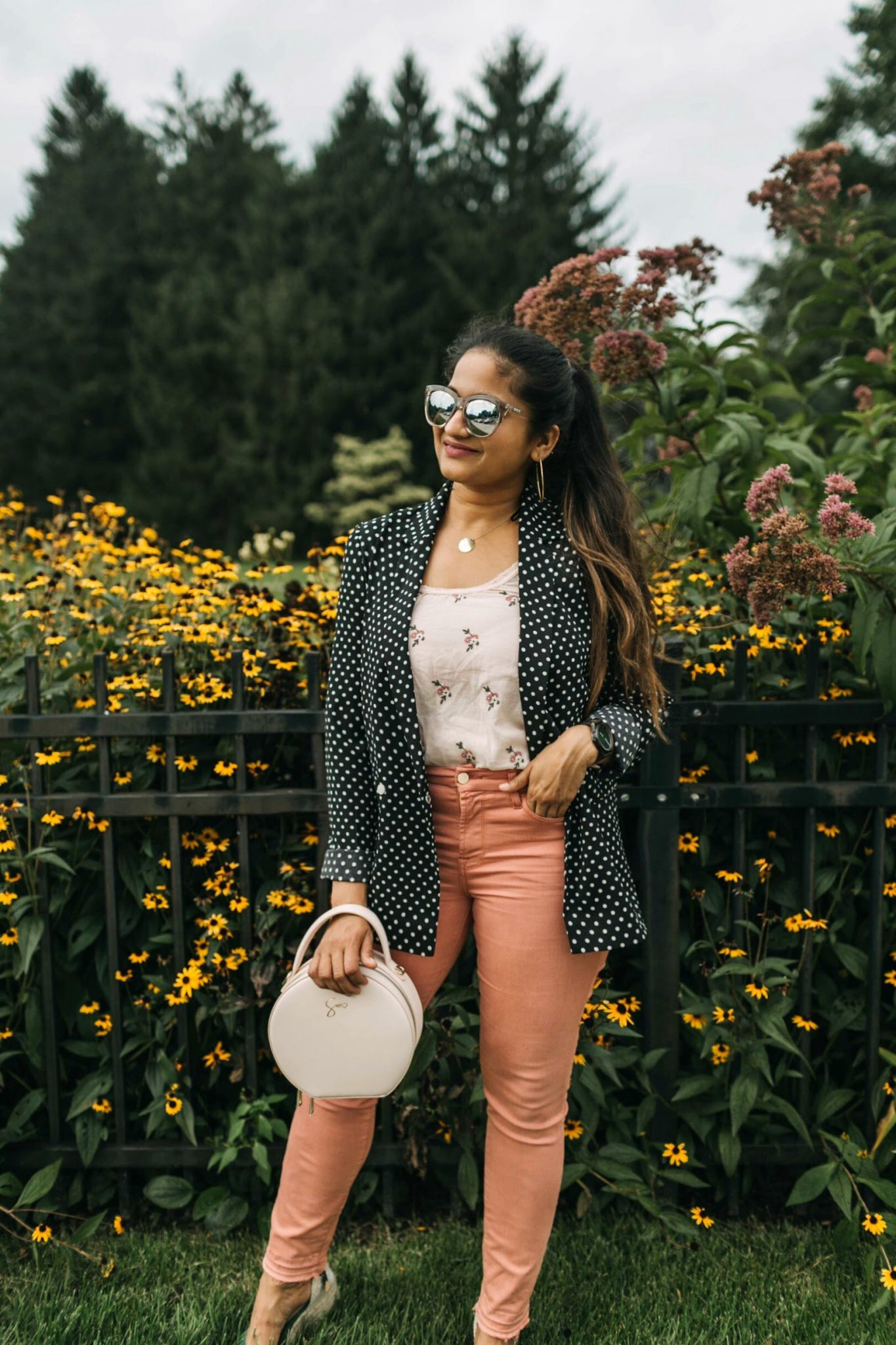 wearing Jen7 Release Hem Colored Ankle Skinny Jeans in pink 5 | Jen7 Pink jeans featured by popular US modest fashion blogger, Dreaming Loud
