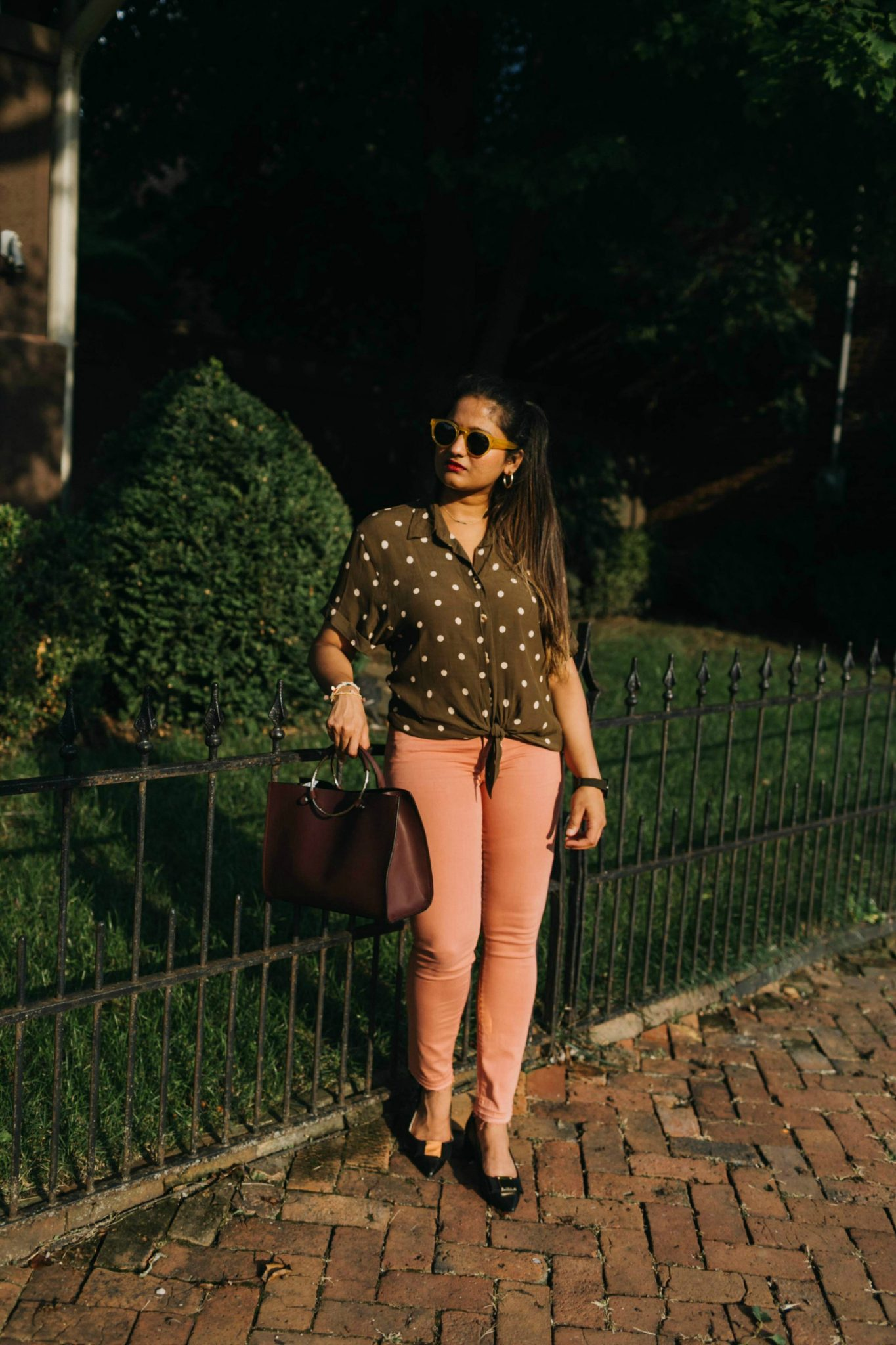 wearing Rio Shirt in olive | Jen7 Pink jeans featured by popular US modest fashion blogger, Dreaming Loud