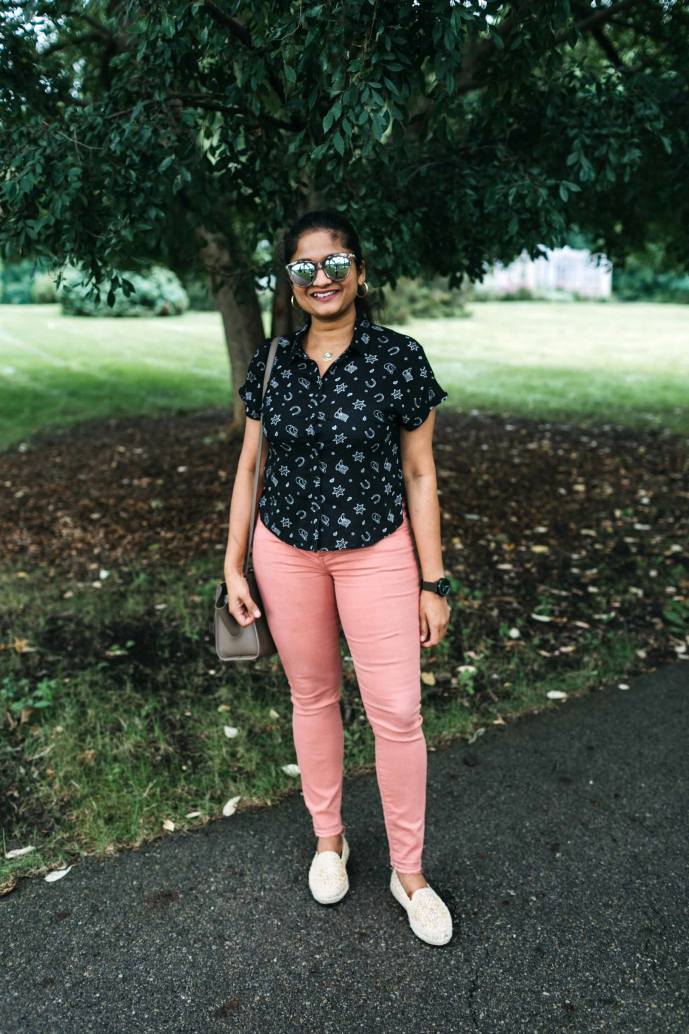 wearing Yucatan raffia espadrilles | Jen7 Pink jeans featured by popular US modest fashion blogger, Dreaming Loud