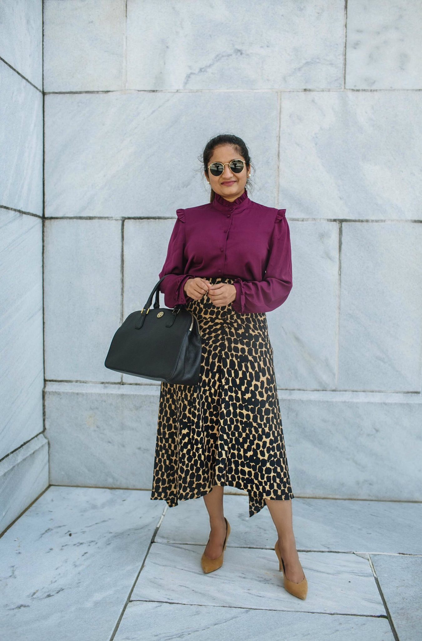 how to wear leopard print skirt to work | Business Causal outfit ideas | Colorful Fall Work Outfits featured by popular Ohio modest fashion blogger, Dreaming Loud