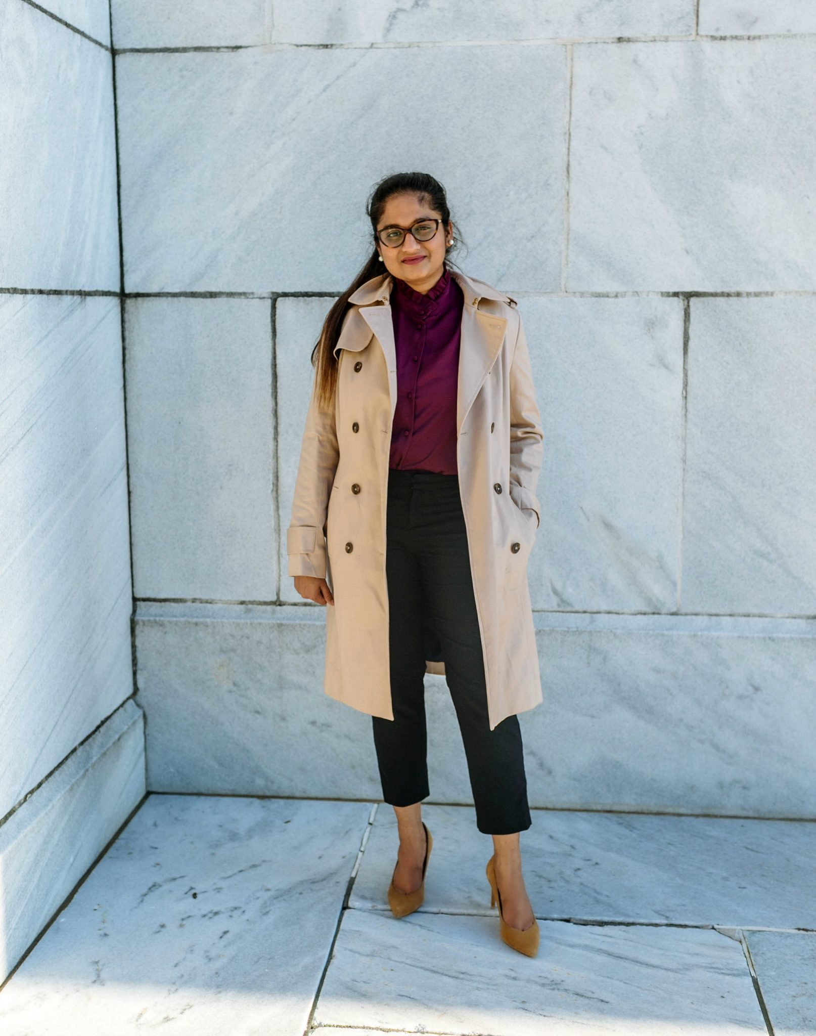 wearing brooks brothers Cotton Twill Trench Coat | 20 Outfit Fall colorful capsule wardrobe |Colorful Fall Work Outfits featured by popular US modest fashion blogger, Dreaming Loud