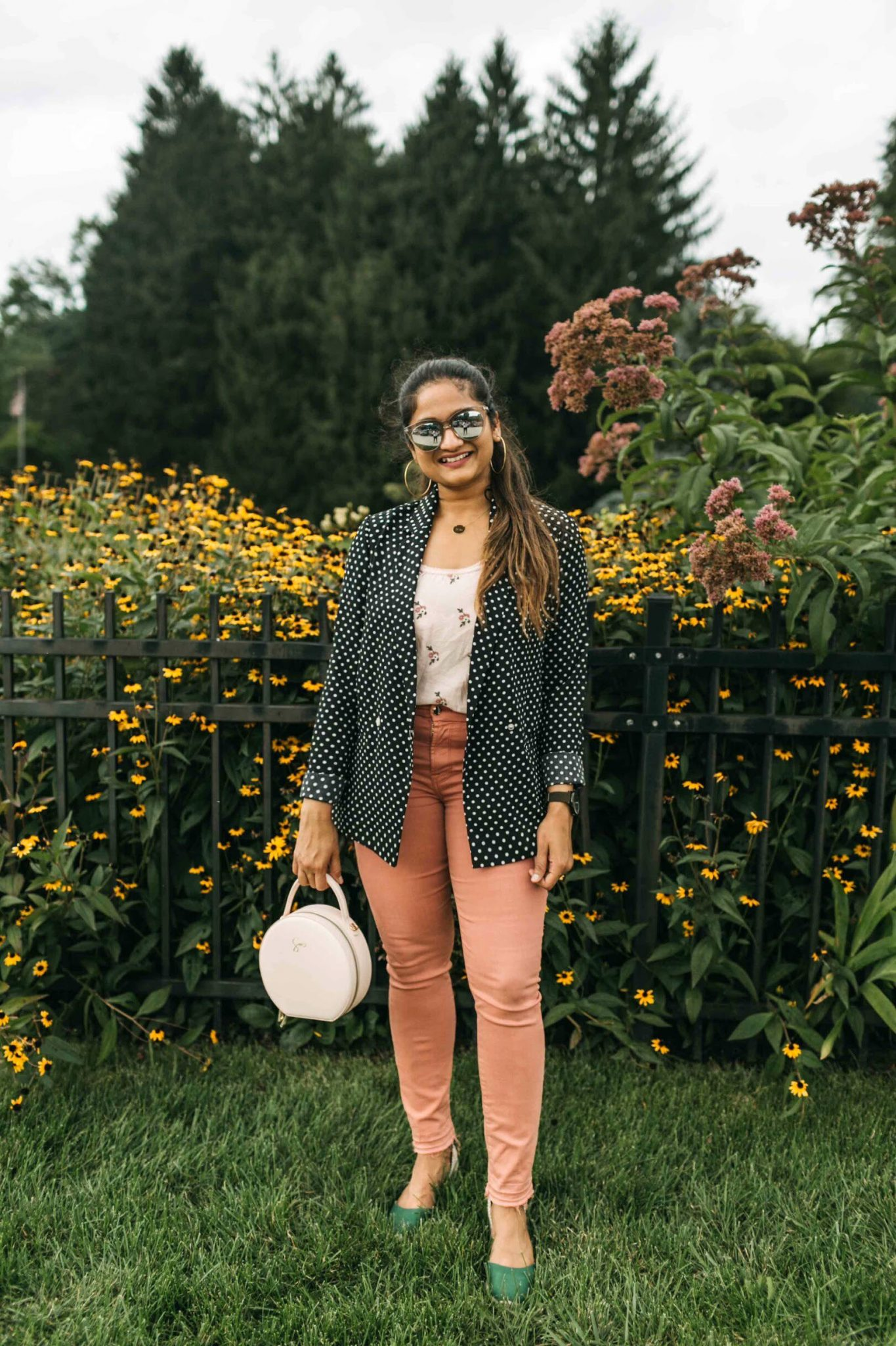 wearing castaner carina wedges in green 1 with daily edited Pale Pink Circle Bag | Jen7 Pink jeans featured by popular US modest fashion blogger, Dreaming Loud
