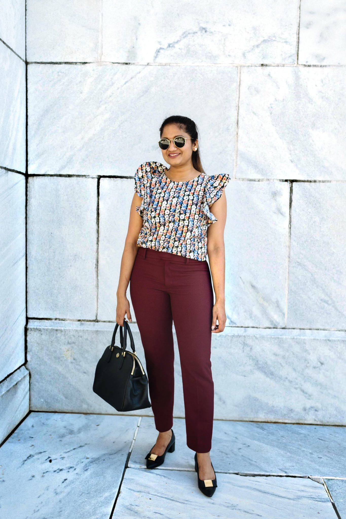 wearing club monaco Remi Textured Pant | Colorful Fall Work Outfits featured by popular US modest fashion blogger, Dreaming Loud