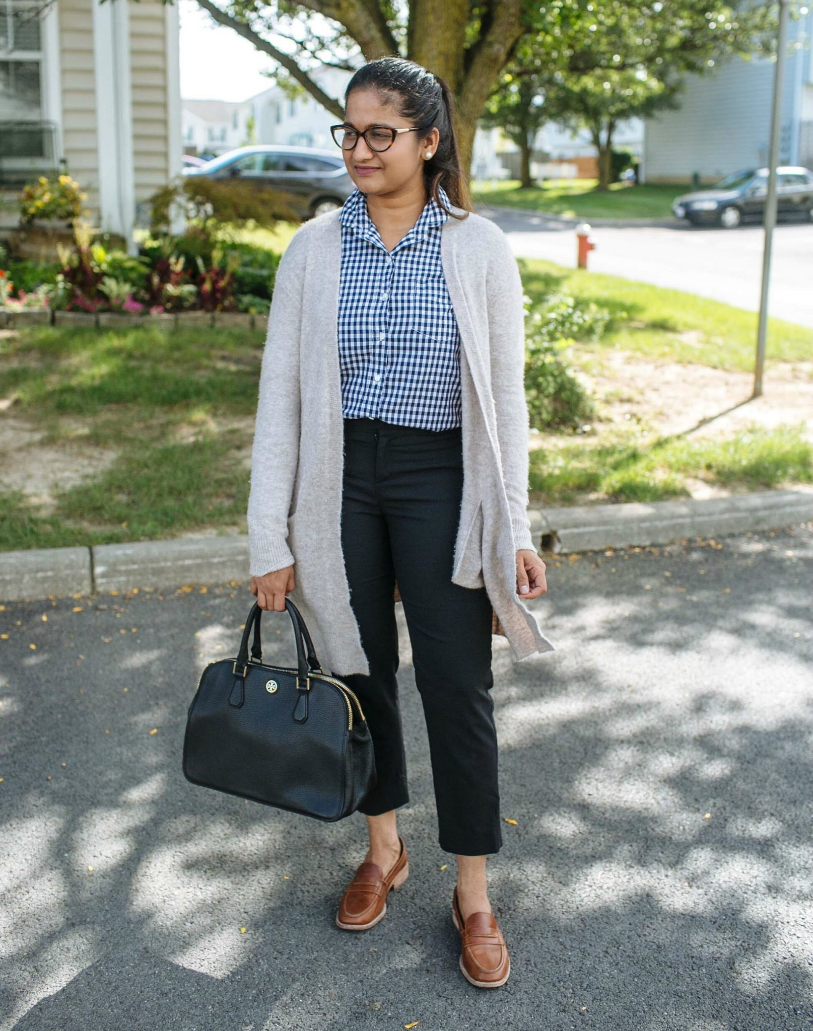 wearing madewell Kent Cardigan Sweater | 20 Outfit Fall colorful capsule wardrobe | Colorful Fall Work Outfits featured by popular US modest fashion blogger, Dreaming Loud