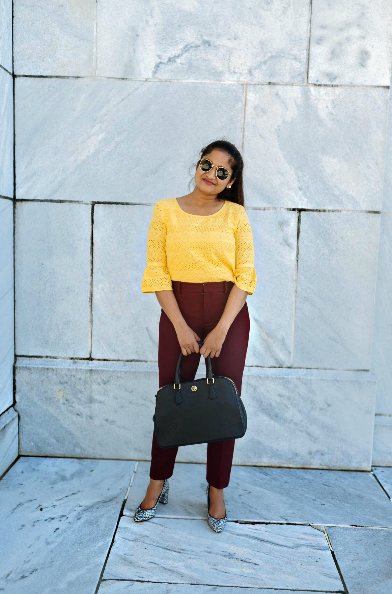 20 Outfit Fall colorful capsule wadrobe | Colorful Fall Work Outfits featured by popular US modest fashion blogger, Dreaming Loud