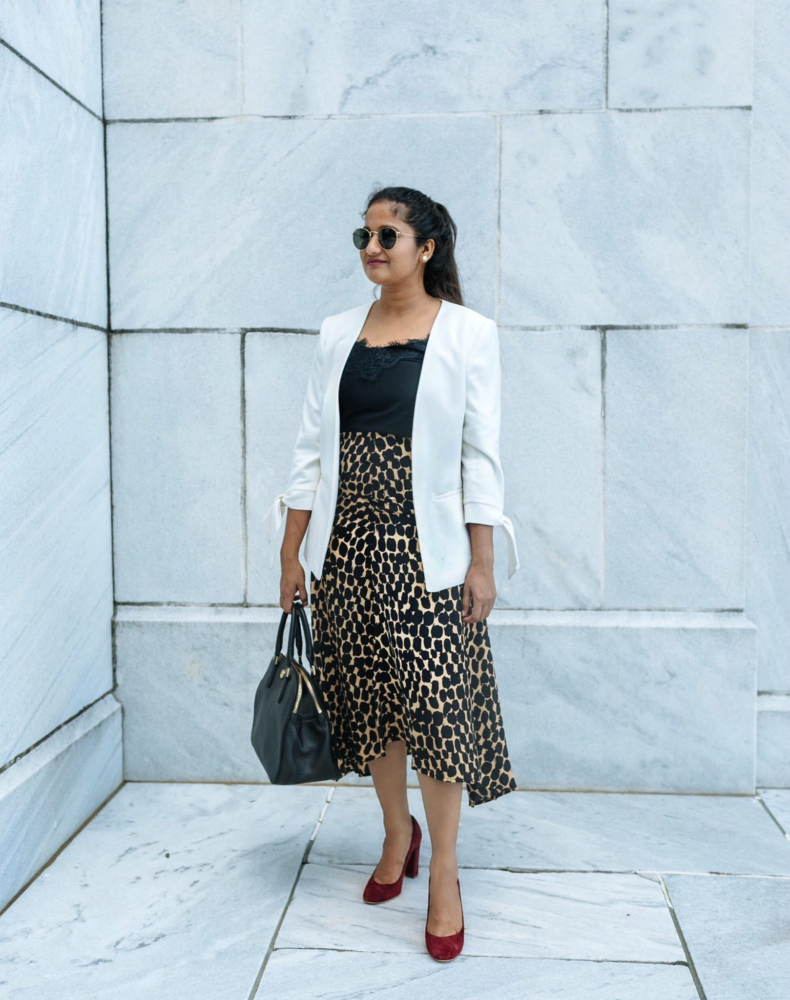 wearing target who what wear asymmetrical hem slip skirt in leopard print skirt | Colorful Fall Work Outfits featured by popular Ohio modest fashion blogger, Dreaming Loud