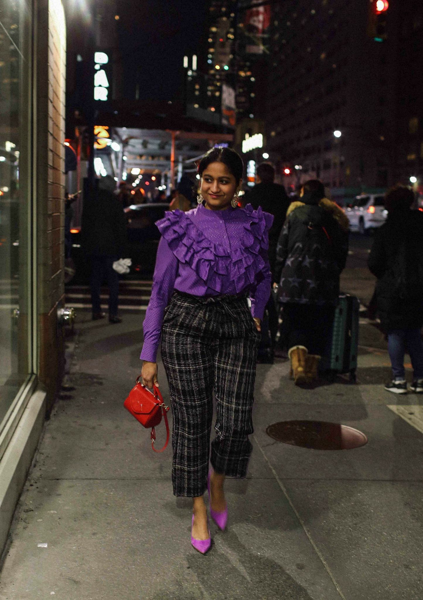 wearing topshop Neppy Checked Paperbag Trousers with lace purple blouse 1 | | NYFW outfit featured by popular US modest fashion blogger, Dreaming Loud